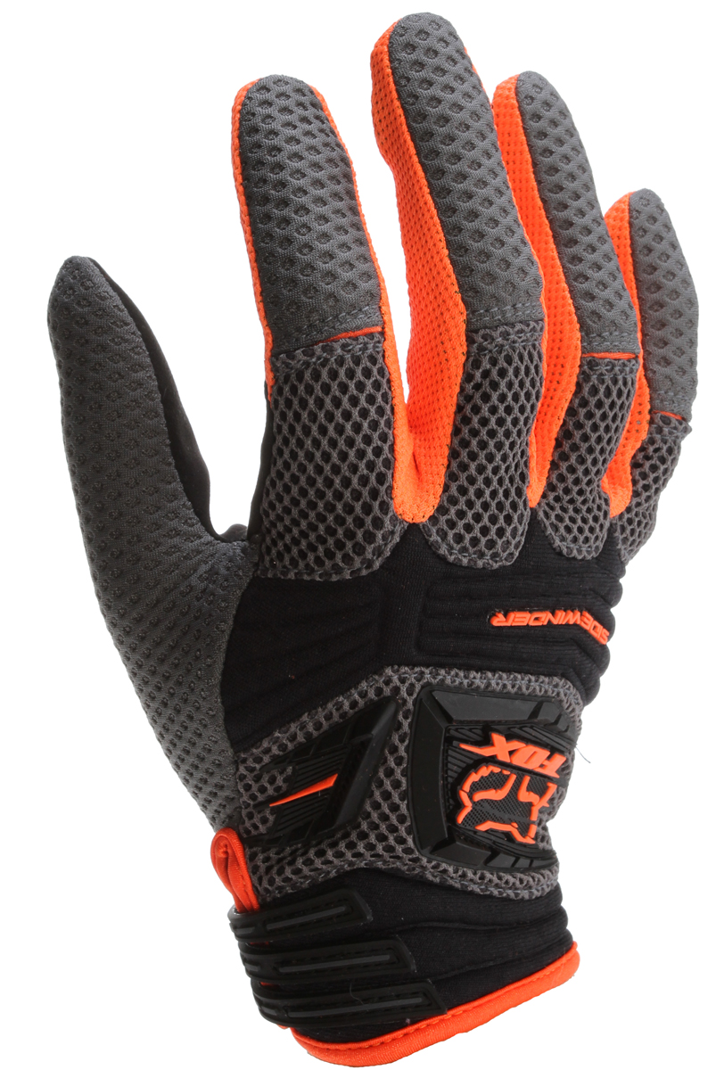 Motorsports Key Features of the Fox Sidewinder Bike Gloves: Breathability is king, and few gloves breathe better than the Airprene and mesh construction of the lighter-than-air Fox Sidewinder Gloves. Lightweight air mesh top hand fabrics offer maximum comfort & airflow Airprene knuckle padding for added flexibility & protection Ax Suede Fit palm for unparalleled comfort & grip Silicone fingertip print for added grip Low profile wrist tab closure - $33.95