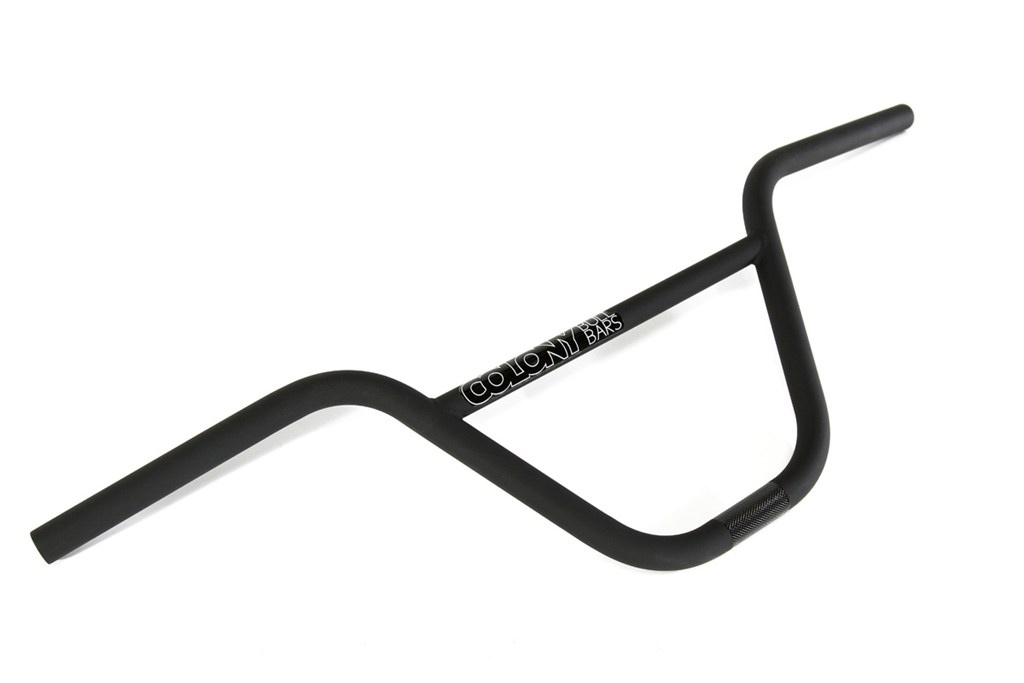 "BMX Key Features of the Colony Bull Bars Handlebars Black 8.25"": 8.25"" rise. 11 Butted Full Heat Treated CrMo 29.5"" width. 12"" back sweep. 1"" up sweep. 799 grams (1.76 lbs). - $51.95"