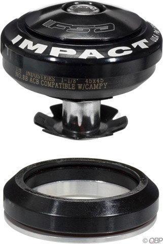"Camp and Hike The FSA Impact Headset is a internal 1-1/8"" black headset.Key Features of the FSA Impact Interal 1-1/8 Headset Blac Camp/Dtgl Cmpt Hybrid Acb: Campagnolo compatible Alloy top cover Patented alignment tip for increased durability and performance 7075 alloy crown race Laser etched aluminum top cap 45/45 degree angular contact bearings Impact Pro (HD4625) has stainless steel micro ACB (white seal) Impact (HD4626) has serviceable hybrid ACB (yellow seal) Compatible with most detanglers Steerer Tube: 1-1/8"" Threadless Headset Type: Integrated/42.0mm OD/45 deg bearing (Hiddenset) S.H.I.S Upper: IS42 S.H.I.S. Clamp Diameter: 28.6 S.H.I.S Lower: IS42 Crown Race: 30.0 Defined Color: Black Color: Black Stack Height: 0 mm Bearing Type: Hybrid ACB Material: Aluminum Weight: 64.0 g - $22.95"