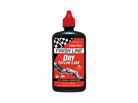 MTB Finish Line Dry Lube goes on wet, but then sets up in a dry, paste-like film so it will not attract or absorb grit and grime. Perfect for on or off-road riding - especially in dry, dirty, dusty conditions, while still providing adequate wet weather performance. Teflon-Plus dry lube has synthetic oils to set up dry and clean while keeping Teflon particles in suspension* Teflon - $5.95
