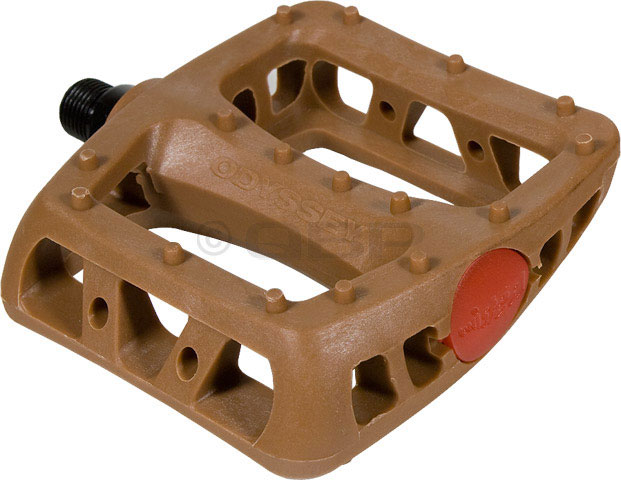 "BMX Odyssey Twisted PC Pedals.Key Features of the Odyssey Twisted Pc Pedals Browns 9/16in: Molded nylon body Pedal Type: Platform Intended Use: BMX Pedal Spindle: 9/16"" Spindle Material: Chromoly Material: Plastic Defined Color: Brown Color: Brown Weight: 408.0 g - $17.95"