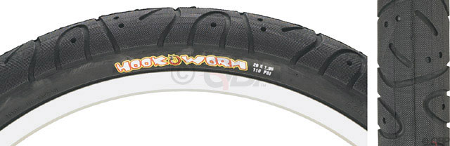 "BMX Maxxis HookwormKey Features of the Maxxis Hookworm BMX Tire Black Steel 20X1.95in: Tread-protected sidewalls Grooved, slick-tread design Tire Use: BMX Defined Color: Black Color Tread/Side: Black/Black Tire Type: Clincher Tire Diameter: 20"" Labeled Width: 1.95 ISO Width: 50 mm ISO Diameter: 406 / 20"" BMX Tire Bead: Steel PSI: 110 PSI Weight: 582.0 g - $24.95"