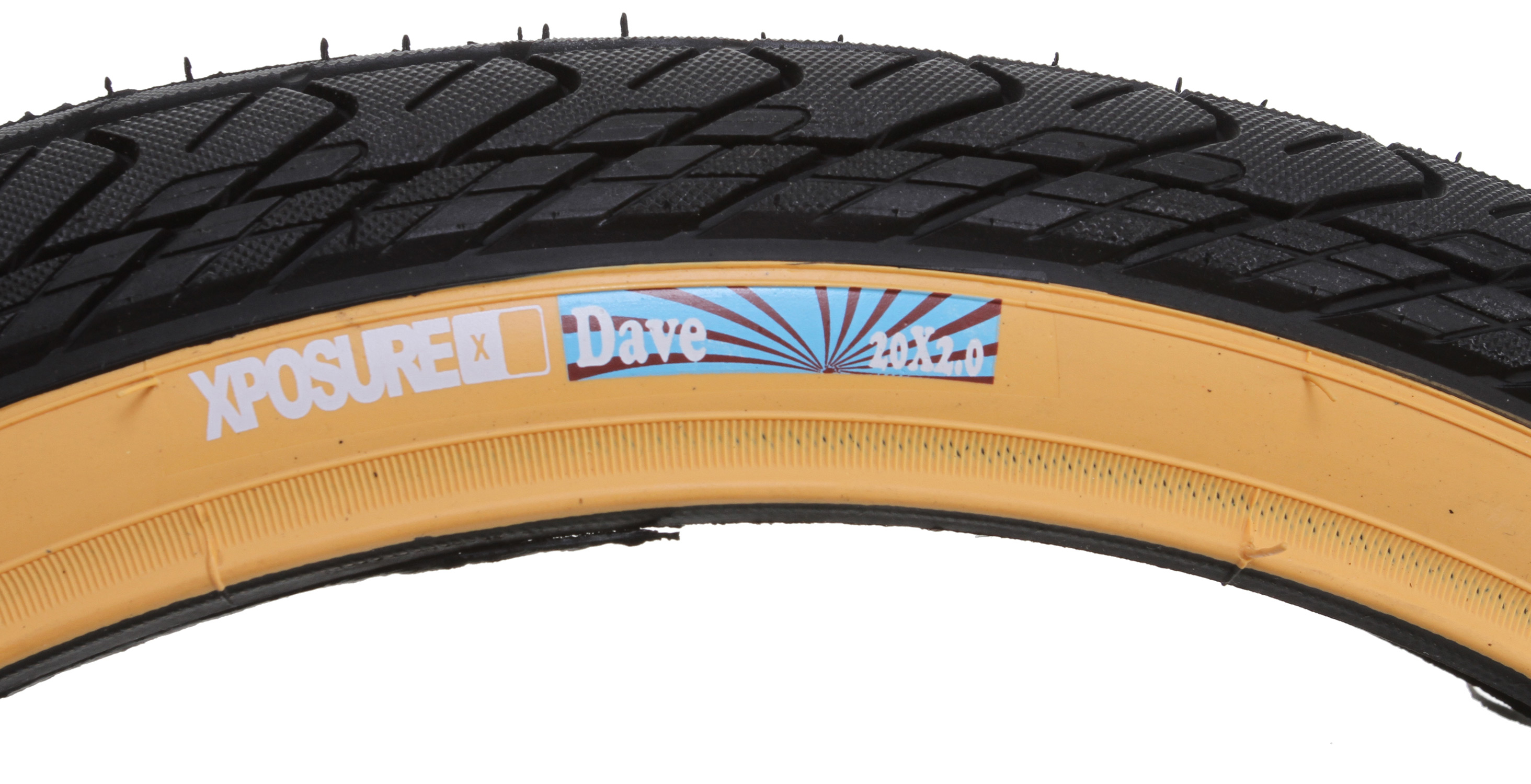 "BMX Key Features of the Xposure Dave Tire 20X2"": Material: Rubber Size: 2.125in Colours: Black / Gum wall / White wall / Red wall Description: wrap around less aggressive tread patter , faster rolling ideal for the back, 60 psi construction Weight: N/A - $10.95"