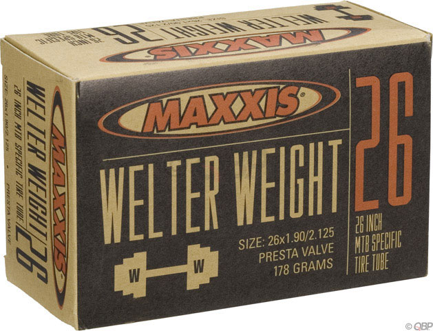 "MTB Maxxis Welter Weight tubes are engineered for aggressive riders who require durability in their inner tubes. The middle-weight tubes in our line are targeted to DH racers, dirt jumpers, freestylers, and urban riders.   Key Features of the Maxxis Welter Weight Presta Valve Tube 26X1.9-2.125in:  Labeled Size: 26"" x 1.9-2.125""  Valve: Presta  ISO Diameter: 559 / 26"" mtn  ISO Width: 46 - 54 mm  Valve Length: Short 32-40mm  Tube Compound: Butyl  Valve Core: Fixed  Valve Shaft: Threaded  Weight: 180.0 g - $7.95"
