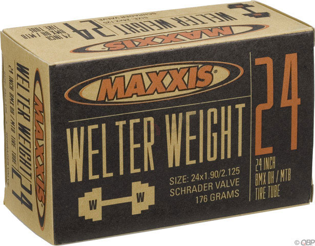 "BMX Maxxis Welter Weight tubes are engineered for aggressive riders who require durability in their inner tubes. The middle-weight tubes in our line are targeted to DH racers, dirt jumpers, freestylers, and urban riders. Key Features of the Maxxis Welter Weight Schrader Valve Tube 24X1.9-2.125in: Labeled Size: 24"" x 1.9-2.125"" Valve: Standard Schrader ISO Diameter: 507 / 24"" BMX ISO Width: 46 - 54 mm Valve Length: Schrader Tube Compound: Butyl Valve Core: Removable Valve Shaft: Smooth Weight: 190.0 g - $7.95"