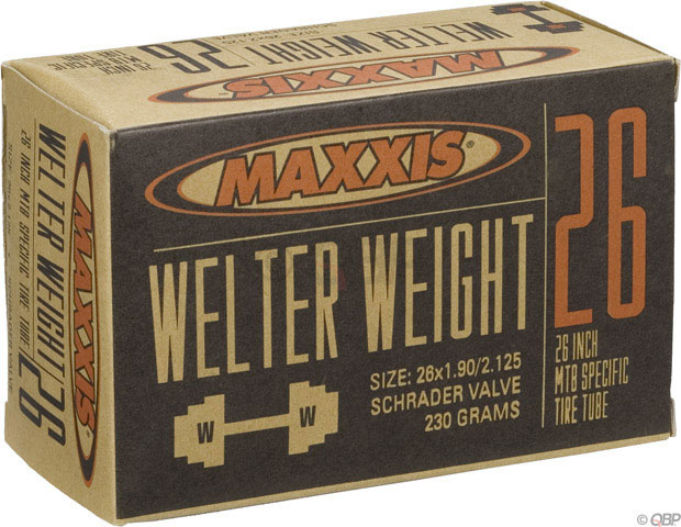 "MTB Maxxis Welter Weight tubes are engineered for aggressive riders who require durability in their inner tubes. The middle-weight tubes in our line are targeted to DH racers, dirt jumpers, freestylers, and urban riders. Key Features of the Maxxis Welter Weight Schrader Valve Tube 26X1.9-2.125in: Labeled Size: 26"" x 1.9-2.125"" Valve: Standard Schrader ISO Diameter: 559 / 26"" mtn ISO Width: 46 - 54 mm Valve Length: Schrader Tube Compound: Butyl Valve Core: Removable Valve Shaft: Smooth Weight: 195.0 g - $10.95"