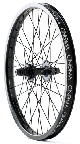 BMX Cinema 333 wheels feature fully sealed hubs with a 9 tooth driver and female axles laced with color-matched spokes, nipples, and a double wall pinned rim. 333 front and rear wheels are sold and packaged individually, and every wheel comes stock with a Cinema rim strip. 2 lbs. 11 oz. - $139.99