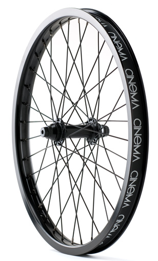 BMX Cinema 333 wheels feature fully sealed hubs with female axles laced with color-matched spokes, nipples, and a double wall pinned rim. 333 front and rear wheels are sold and packaged individually, and every wheel comes stock with a Cinema rim strip. 2 lbs. 4 oz. - $89.99