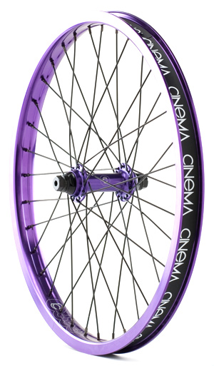 BMX Cinema 333 wheels feature fully sealed hubs with female axles laced with color-matched spokes, nipples, and a double wall pinned rim. 333 front and rear wheels are sold and packaged individually, and every wheel comes stock with a Cinema rim strip. 2 lbs. 4 oz. - $99.95