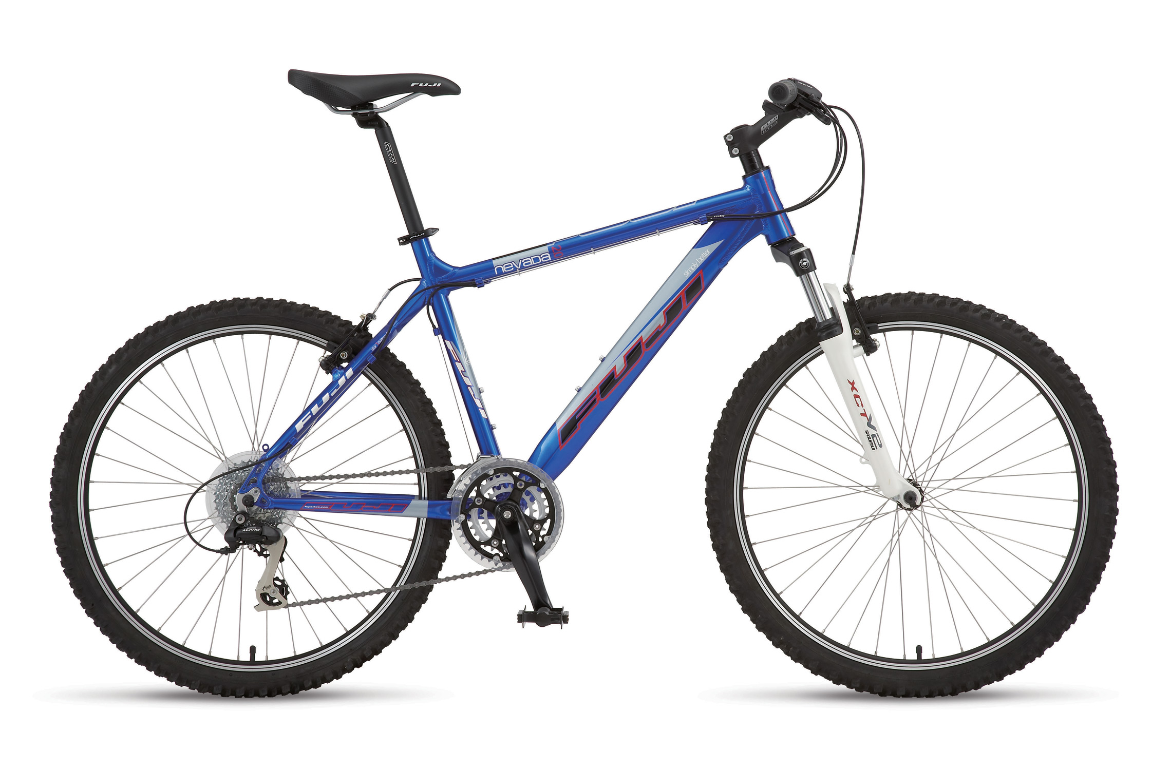 MTB Key Features of the Fuji Nevada 2.0 Bike Electric Blue M/L (22In): SIZES 15, 17, 19, 20.5, 22, 24 COLOR(S) Electric Blue MAIN FRAME Fuji Altair 1 Aluminum with PowerDiamond down tube, top tube/seat tube gusset, Integrated head tube, down tube gusset, double water bottle mounts REAR TRIANGLE Fuji Altair 1, custom tapered Aluminum with Edge S-bend MonoStay, Cold forged dropout with CNCD disc mount and replaceable hanger FORK SR Suntour XCT-V2-MLO 28mm stanchions, 80mm travel w/Mechanical LO CRANKSET Lasco Forged Alloy , 22/32/42T with Chainguard BOTTOM BRACKET Sealed Cartridge Bearing ST PEDALS Wellgo ATB w/steel cage FRONT DERAILLEUR NEW Shimano Acera, 31.8mm REAR DERAILLEUR Shimano Alivio SHIFTERS NEW Shimano Acera ST-M360 EZ Fire shifter/brake, 24-speed CASSETTE Sunrace CSM-56, 11-32T 8-speed CHAIN Sunrace CNM-84 FRONT HUB Formula oversized sealed Al, 36H w/QR REAR HUB Formula oversized sealed Al cassette, 36H w/QR SPOKES 14G Stainless Steel RIMS Jalco ATB-220 Double Wall Aluminum /CNC Sidewalls TIRES ATB, 26 x 2.1 TUBES A/V ATB BRAKE SET Tektro 837AL Forged Alloy, linear pull BRAKE LEVERS NEW Shimano Acera ST-M360 Forged Alloy HEADSET V.P. 1 1/8 Press Fit Integrated, 30mm spacers HANDLEBAR Fuji Comp Riser 20 aluminum STEM Fuji Comp forged Aluminum w/removable faceplate TAPE/GRIP Fuji Dual Density Kraton rubber SADDLE Fuji Race MTB SEAT POST Fuji Aluminum micro-adjust, 350mm SEAT CLAMP Fuji Alloy, 31.8mm Laser Etched QR WEIGHT, LB./KG. 31.62/14.34 - $304.95
