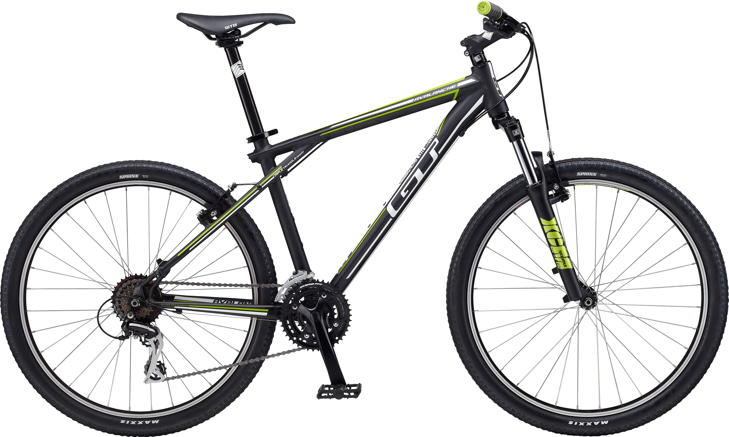 "Fitness Key Features of the GT Avalanche 4.0 Bike: Sizes: XS, S, M, L, XL, XXL Colors: Black, Blue, White Frame: Hydroformed 6061 T6 Aluminum Frame, w/ Triple Triangle, Replaceable Derailleur Hanger, Disc Brake Mounts, and Zerostack 1 1/8"" Head Tube Fork: SR Suntour XCT-MLO w/ 100mm Travel, Steel Stanchions, Aluminum Leg, Post Mount Disc Brake, Preload Adjust, Mechanical Lockout, QR Chain: KMC Z99 Crank: SR Suntour Nex-T102-Pb, 42/34/24T Bottom Bracket: Tange Sealed Pedals: GT Slim Line Flat Pedal Front Derailleur: Shimano Altus, FD-M190 Rear Derailleur: Shimano, Alivio, RD-M430 Shifters: Shimano Sl-M310, Rapid Fire Cog Set: Shimano CS-HG31-8, 11-32T, 8-Speed Cassette Rims: Alex MD17, Double Wall, 32H Tires: Maxxis Sphinx 26X2.10"" F, 26x1.95 R Hubs: All Terra Alloy Disc, W/ Quick Release Rear Hub: All Terra Alloy Cassette Disc, W/ Quick Release Spokes: 14G Stainless Nipples: BRASS Brake: Tektro Novela Cable Disc, W/ 160mm Rotor Brake Levers: Tektro Handlebar: All Terra 6061 Aluminum Riser, 685mm Width, 30mm Rise, 31.8mm Clamp Stem: All Terra 1 1/8"" Threadless, 3D Forged, 4-Bolt W/ CNC Face Plate, 5 degree Rise, 31.8mm Clamp Grips: GT Slim Line Racing Wing W/ Waffle Headset: Tange Seiki 1 1/8"" Threadless, Zerostack Saddle: All Terra Tacoma Seat Post: All Terra Alloy Micro-Adjust, 30.9mm Seat Clamp: All Terra Alloy QR - $311.95"