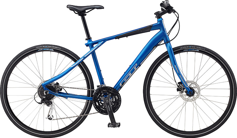 MTB The GT Traffic 2.0 Bike is designed to get you through gridlock and to your destination as quickly and efficiently as possible. The body consists of the strongest and lightest alloys and is absolutely seamless. The GT Traffic 2.0 features a nine speed drivetrain and linear pull brakes. Everything about this bicycle is designed with you in mind. Hills will be no match for you as you truly feel the power that this GT bike harnesses.  Frame: GT Traffic aluminum frame with hydroformed TT and DT, Integrated headset style head tube, Internal cable routing, forged drop-outs with chainstay disc mounts, removable derailluer hanger and all braze ons    Fork: GT Traffic fork with hydroformed alloy raked legs, Disc brake tabs, rack and fender eyelets, steel steeler    Chain: KMC HG53    Crank: Suntour NRX 48/ 38/ 28    Bottom Bracket: Shimano Cartridge sealed    Pedals: GT high impact nylon platform    Front Derailleur: Shimano Acera 9spd    Rear Derailleur: Shimano Alivio 9spd    Shifters: Shimano Alivio 9spd    Cog Set: Shimano HG20 9spd 11-34    Rims: Jalco Disc SX170 double wall rims with stainless eyelets, 32h    Tires: 700x35C Schwalbe Roadcruiser with puncture protection and reflective sidewalls    Hubs: Formula Disc 32h    Rear Hub: Formula Disc 32h Freehub    Spokes: 14G Stainless    Nipples: Brass    Brake: Tektro Draco Pro hydrualic disc brake 160mm rotor    Brake Levers: Tektro Draco Pro    Handlebar: GT All Terra Alloy MTB Riser Bar with 31.8 Clamp    Stem: GT 3D forged Alloy Ahead type    Grips: GT Dual Density Comfort design    Headset: FSA internal sealed Ahead    Saddle: GT Traffic saddle    Seat Post: Alloy two bolt seat pillar    Seat Clamp: Alloy one bolt clamp    27 Speed Bike - $486.95