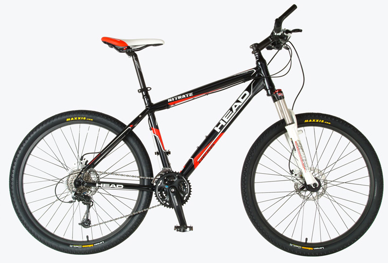 "MTB Key Features of the Head Nitrate Bike: HEAD 6066 MTB alloy frame RST GILA PRO TnL suspension fork Shimano Deore 24 speed Shimano BR-M445 hydraulic disc brake Shimano FC-M311 chain wheel HEAD DW wheel set Maxxis Oriflame tires Size: 26 X 15/17/19/21"" - $799.95"