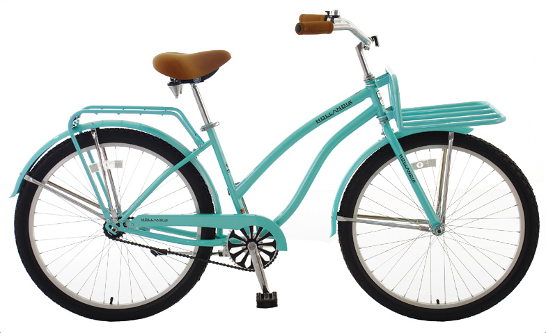 "MTB Hollandia Women's Dutch Style Single Speed Cruiser offers the authentic Amsterdam experience. For those who think the journey is half the fun. Among bicycling enthusiasts, Hollandia is quickly gaining a reputation as a producer of the very highest caliber. Each bike is designed in Holland. Key Features of the Hollandia Holiday F1 Bike Mint Green 17"": Hi-Ten TIG Steel Frame Alloy parts include rims, quick release, stem, kickstand Brown Vinyl Grips and Saddle 3-Piece crank Accessories: fenders front and rear dutch style racks a bell Manufacturer's Warranty: Lifetime on frame, 90 days on parts - $259.99"