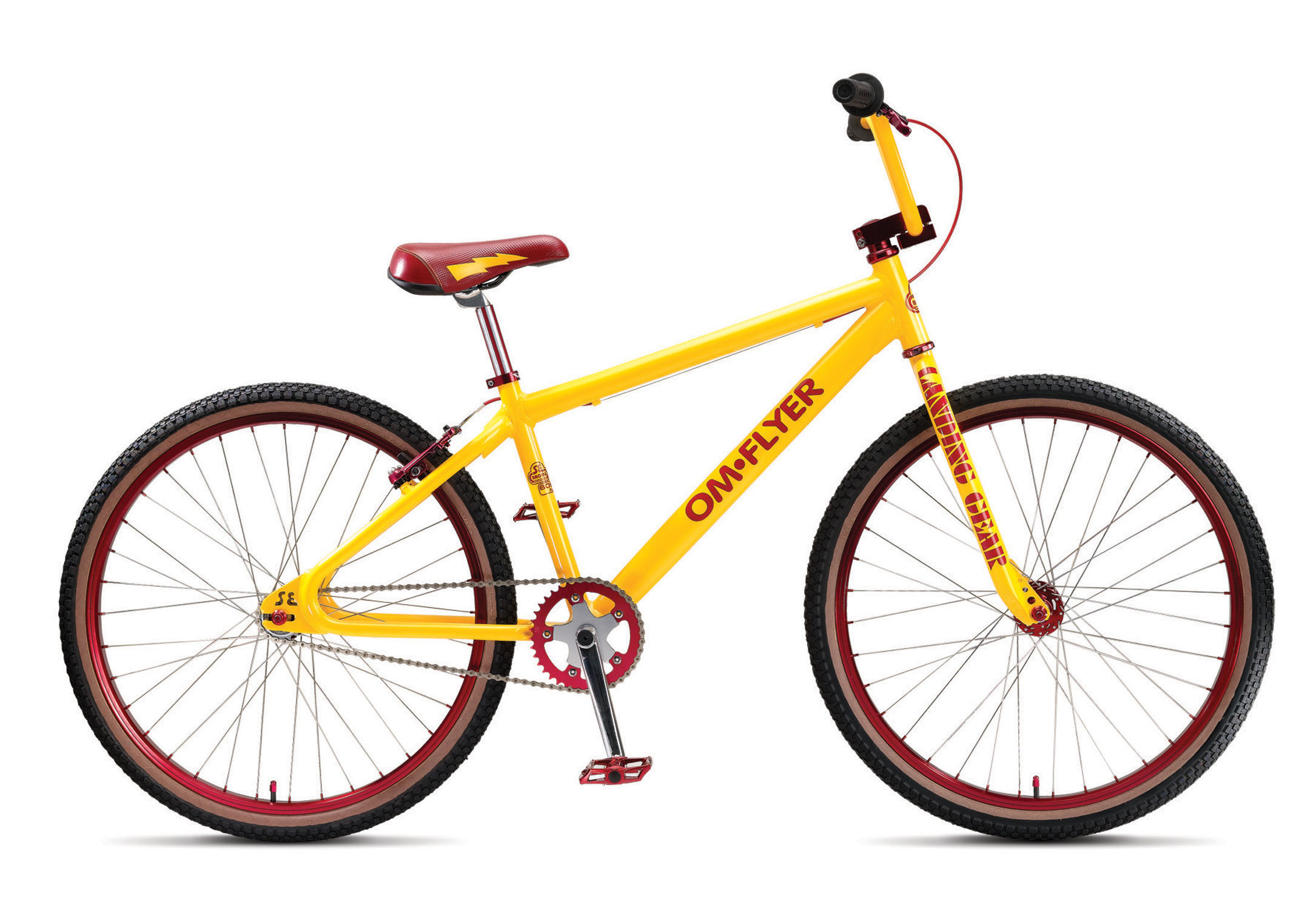 "BMX Key Features of the SE OM Flyer Single Bike: FRAME 6061 Aluminum Tubing, Looptail Rear End, Retro dropouts FORK 100% CR-MO Landing Gear HEADSET Tange Alloy DX4, 1-1/8"" Threadless HANDLEBARS CR-Mo Power Wing Cruiser Bar, 28"" X 7"" STEM Retro Top Load w/ Engraved SE Logo Top & Bottom, 1-1/8"" Alloy GRIPS S-1E Retro Grip BRAKE LEVER Tektro 313A, 2 Finger Alloy BRAKE(S) Tektro 839AL V-Brake SEAT SE Flyer Seat SEAT POST Retro Fluted Micro-Adjust, Aluminum 27.2 SEAT CLAMP SE Racing Alloy CRANKSET SE 3-pc Cr-Mo, 180mm, 48 Spline Sealed American, 39T Alloy CHAIN KMC Z30 Silver PEDAL X-Pedo Low Profile Platform w/ Removable Pins RIM Alex DM24, 36H Double Wall Aluminum, w/ Stainless 14Ga. Spokes FRONT HUB SE Racing High Flange Alloy, Sealed Bearing, Cr-Mo Axle REAR HUB SE Racing High Flange Alloy, Sealed Bearing Alloy, Cr-Mo Axle w/ 17T Freewheel TIRES Kenda K-Rad w/ Skinwalls 1.95 F & R PEGS Nil GYRO Nil EXTRAS Alloy Axle Nuts, Alloy Valve Caps WEIGHT 27.2 lbs - $549.95"