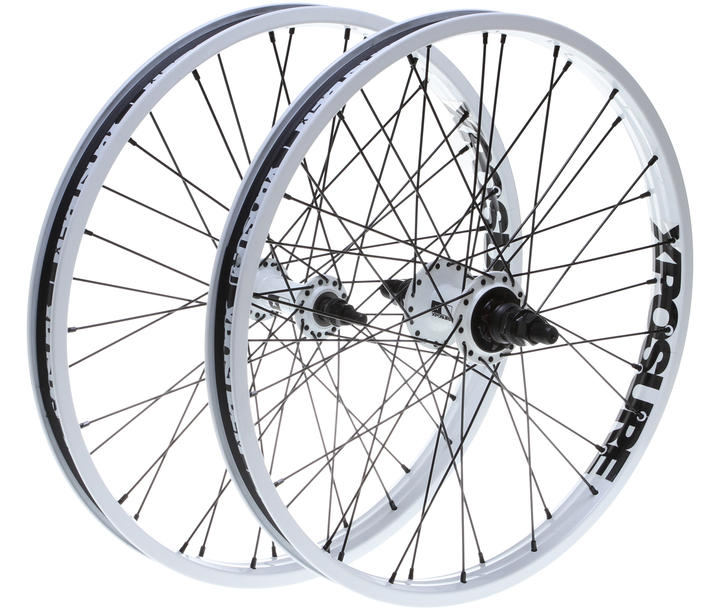 "BMX Key Features of the Xposure Mid Set Wheels 20"": MID WHEEL REAR Material: Steel rim / Aluminium hub Size: 14mm axle Colours: Matt Black / Matt White / Purple / Green / Red / Ti Description: Looseball 9t Xposure cassette hub with 14mm axle, steel spokes, Xposure double wall, straight profile rim Liquor rim. Weight: 1198g MID WHEEL FRONT Material: Steel rim / Aluminium hub Size: 3/8in axle Colours: Matt Black / Matt White / Purple / Green / Red / Ti Description: Looseball Xposure front hub with 3/8in axle, steel spokes, Xposure double wall, aero profile rim Liquor rim. Weight: 1013g - $169.95"