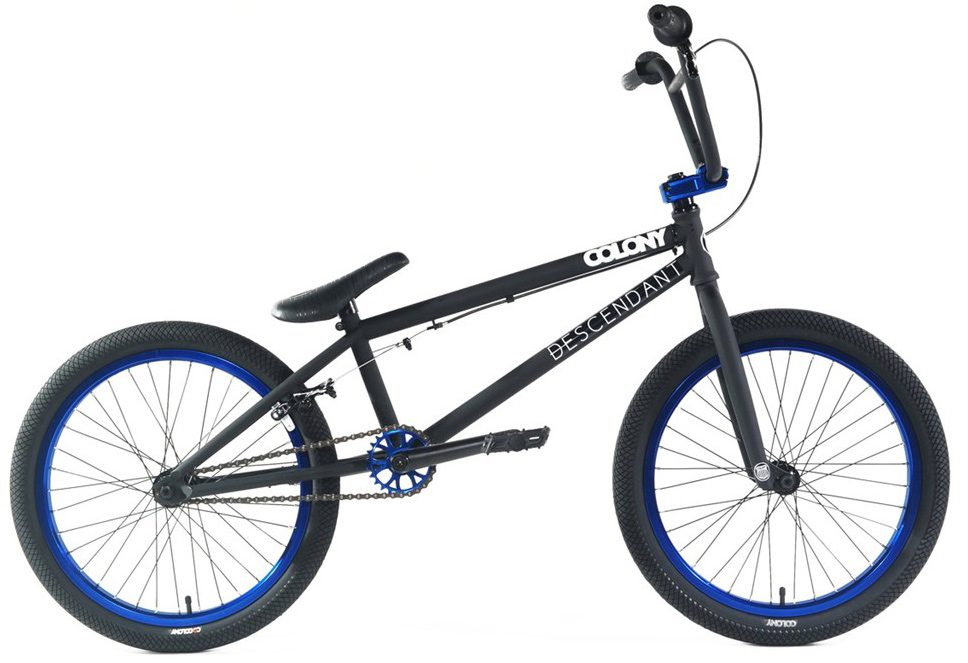 "BMX Key Features of the Colony Descendent BMX Bike 20"": Frame: Colony Descendent Full CrMo 20.85"" TT 13.75"" rear, 75.5"" HA, 71"" ST, MID BB, Integrated Headset. Stand over height of 8.0"" (centre of BB shell to centre of TT) Forks: Colony tapered leg, full CrMo, 1piece CNC steerer tube. Brakes (rear): Tektro 990 style. Brake lever (right): Rush Alloy. Cables: Linear slick (rear). Headset: Integrated. Stem: Colony Variant style 6061T6. Handlebars: Colony Bull Bars style Full CrMo. Grips: Colony Mountjoy. Sprocket: Colony Endeavor 25t CNC 6061 T6. Crankset: Colony CrMo Tubular 48 spline. Bottom Bracket: Sealed Mid 19mm. Chain: KMC Z510. Pedals: Colony Fantastic Plastic. Rims: Colony Double Wall Alloy 36h. Front Tyre: Colony Agenda 2.15"". Rear Tyre: Colony Agenda 1.9"". Spokes: Black steel. Front Hub - Colony Alloy Female axle, 36hole, sealed bearing low flange. Rear Hub - Colony Alloy Cassette, 36 hole, 14mm axle, sealed w/9t driver. Seat & Seatpost: Colony Cee Seat/Post Combo. Weight: 10.9kgs or 24.03lbs - $700.95"
