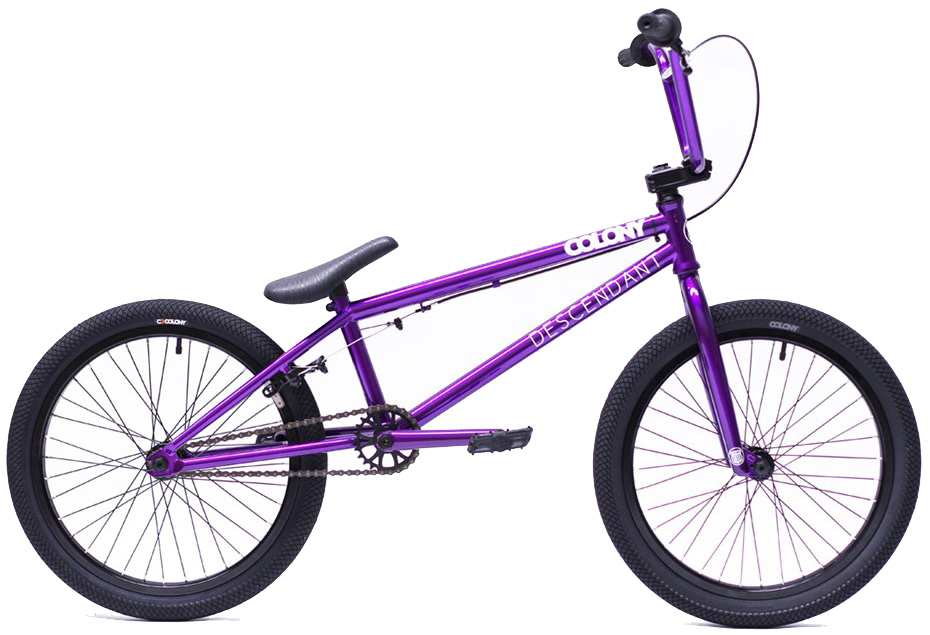 "BMX Key Features of the Colony Descendent BMX Bike 20"": Frame: Colony Descendent Full CrMo 20.85"" TT 13.75"" rear, 75.5º HA, 71º ST, MID BB, Integrated Headset. Stand over height of 8.0"" (centre of BB shell to centre of TT) Forks: Colony tapered leg, full CrMo, 1piece CNC steerer tube. Brakes (rear): Tektro 990 style. Brake lever (right): Rush Alloy. Cables: Linear slick (rear). Headset: Integrated. Stem: Colony Variant style 6061T6. Handlebars: Colony Bull Bars style Full CrMo. Grips: Colony Mountjoy. Sprocket: Colony Endeavor 25t CNC 6061 T6. Crankset: Colony CrMo Tubular 48 spline. Bottom Bracket: Sealed Mid 19mm. Chain: KMC Z510. Pedals: Colony Fantastic Plastic. Rims: Colony Double Wall Alloy 36h. Front Tyre: Colony Agenda 2.15"". Rear Tyre: Colony Agenda 1.9"". Spokes: Black steel. Front Hub - Colony Alloy Female axle, 36hole, sealed bearing low flange. Rear Hub - Colony Alloy Cassette, 36 hole, 14mm axle, sealed w/9t driver. Seat & Seatpost: Colony Cee Seat/Post Combo. Weight: 10.9kgs or 24.03lbs - $699.99"