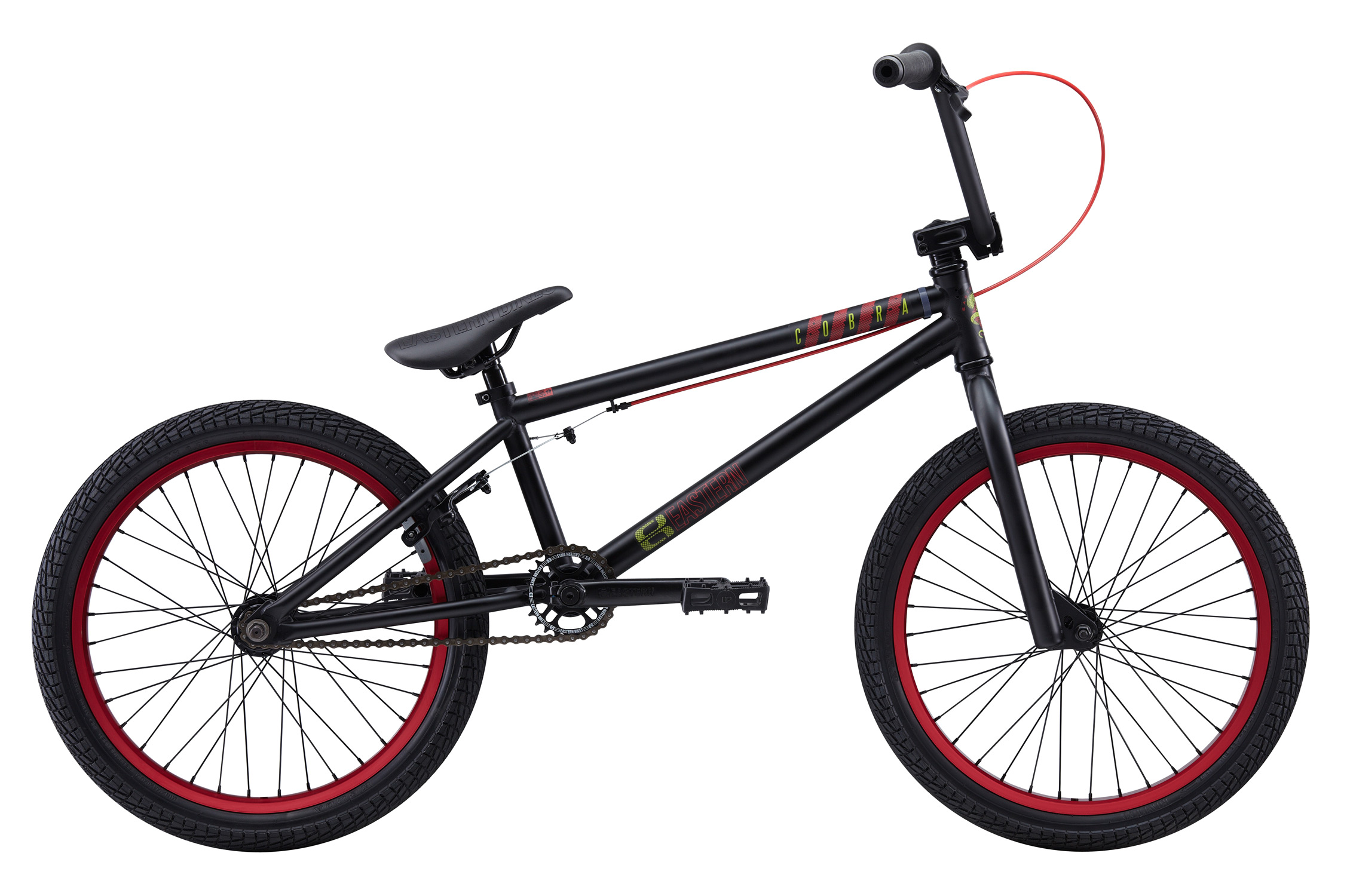 "BMX Key Features of the Eastern Cobra BMX Bike: WEIGHT: 26.5 LBS TOP TUBE SIZE: 20.5"" COLORS : Matte Black, Matte Black/Red, Matte Orange GEARING: 25/9 Micro-drive FRAME: Cobra Hi-Tensile Strength 1020 Steel Frame. Eastern Promise: lifetime warranty, lifetime upgrade policy FORK: Cobra Hi-Tensile Strength 1020 Steel BARS: 8.0""x 28.5"" , 1º Upsweep, 12º Backsweep HEADSET: 1-1/8"" Aheadset BB: American Loose Ball Bearing PEDALS: VP Components Plastic Platform Pedals GRIPS: Velo Mushroom Grip** STEM: Forged Alloy Front Load SPROCKET: 25T Steel CRANKS: Tubular chromoly heat-treated 3pc. cranks with 8 spline spindle SEAT: Adjustable Saddle with Embossed Logo SEATPOST: Steel SEAT CLAMP: Nitrous Locker Forged Alloy Clamp TIRES: Multi-Surface, 20""x2.35""** FRONT HUB: Sealed Bearing, 36 hole Alloy Shell, 3/8"" chromoly axle REAR HUB: Fully Sealed 36 hole cassette hub, Forged Alloy Shell, 1pc. 9-tooth chromoly driver, 14mm chromoly axle, 5 sealed bearings. RIMS: REAR-Double Wall Alloy, 36 Hole FRONT- Alloy 36 hole REAR BRAKES: Tektro Forged Alloy U-Brake /Straight Cable / Forged Alloy lever, Designed for U-Brakes FREEWHEEL: Sealed bearing 9-tooth 1pc. driver CHAIN: KMC PEGS: 2 pegs - $319.99"