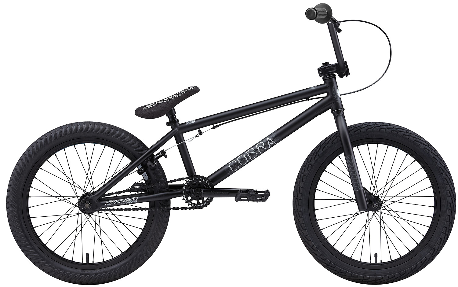 "BMX Key Features of the Eastern Cobra BMX Bike 20"": WEIGHT: 26.8 lbs. COLORS: Black/Black, Red/Black, Green/Black TOP TUBE SIZE: 20.25"" GEARING: 25/9 Micro-drive FRAME: Cobra Hi-Tensile Strength 1020 Steel Frame w/ lifetime upgrade policy** FORK: Cobra Hi-Tensile Strength 1020 Steel BARS: 8.0""x 28.5"" , 1 Degree Upsweep, 12 Degree Backsweep HEADSET: 1-1/8"" Aheadset BB: American Loose Ball Bearing PEDALS: Eastern Crown pedals GRIPS: Eastern Wiz Signature Grip STEM: Forged Alloy Front Load SPROCKET: 25T Steel w/ Nitrous Graphic CRANKS: Nitrous Shifter 175mm tubular chromoly heat-treated 3pc. cranks w/ 8 spline spindle SEAT: Nitrous Logo 1-Piece Seat/Alloy Post Combo TIRES: LHR Multi-Surface , 20"" x 2.20"" FRONT HUB: 36H 3/8"" Loose Ball Bearing REAR HUB: KT/Quando semi-sealed 36H cassette hub. 1-piece 9-tooth chromoly driver, hollow 14mm chromoly axle RIMS: Alloy 36 Hole REAR BRAKES: Forged Alloy U-Brake / Straight Cable / Forged Alloy lever, Designed for U-Brakes FREEWHEEL: 9T 1-Piece Chromoly Driver CHAIN: KMC Z510 SEAT CLAMP: Nitrous Locker Forged Alloy Clamp FRONT WHEEL: Hub Flange Diameter: 44.5mm, Rim E.R.D: 398, Spoke Length: 187mm REAR WHEEL: Hub Flange Diameter: 66.7mm, Rim E.R.D: 398, Spoke Length: 184mm - $299.95"