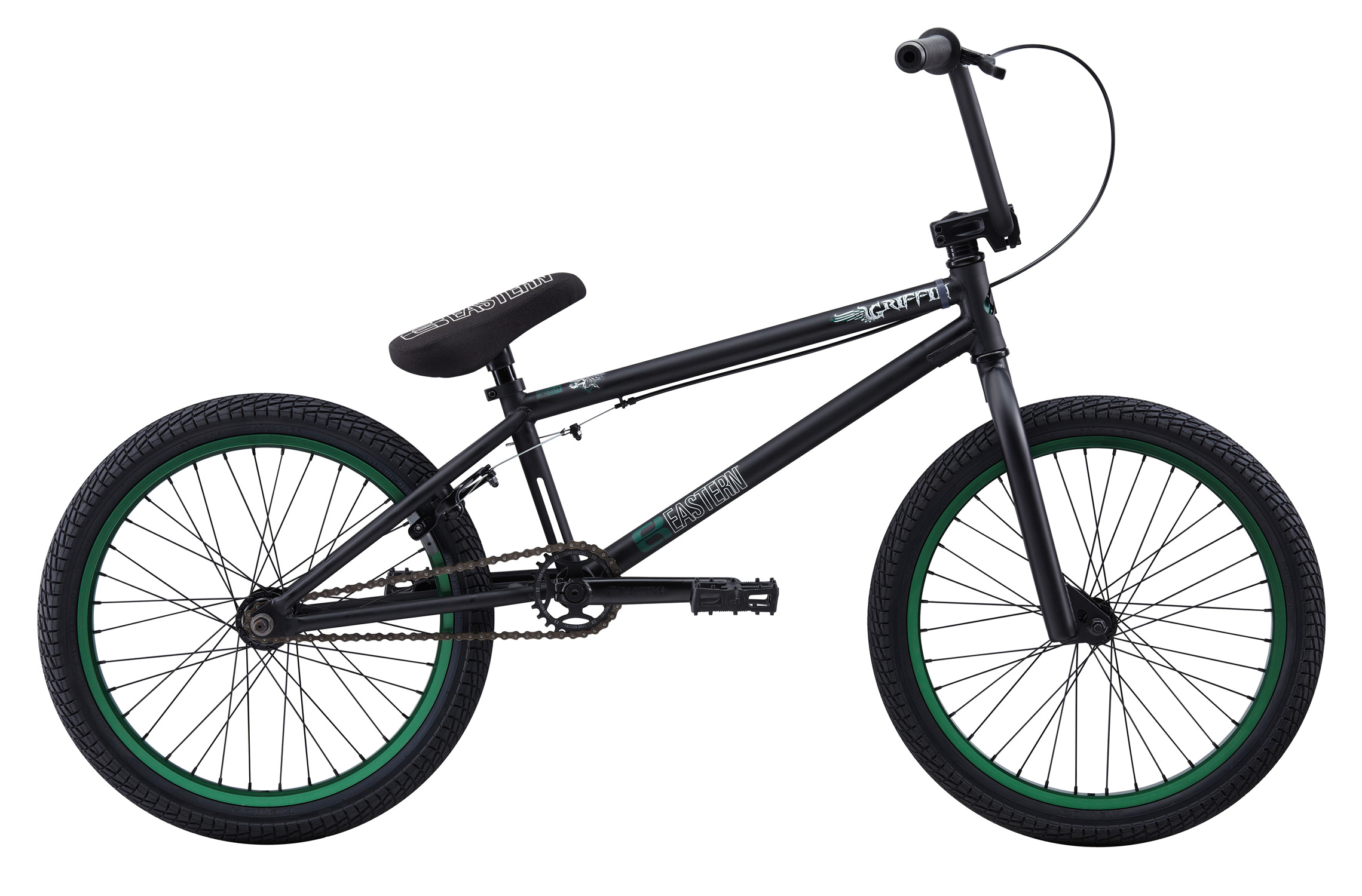 "BMX Key Features of the Eastern Griffin BMX Bike: WEIGHT: 26.1 LBS TOP TUBE SIZE: 21"" COLORS : Matte Black/Green, Gloss Midnight Purple/Hot Blue GEARING: 25/9 Micro-drive FRAME: Griffin frame w/ 4130 chromoly downtube, mid BB & replaceable brake mounts, cable stop & gyro tabs. Eastern Promise: lifetime warranty*, lifetime upgrade policy** FORK: Eastern Full 4130 Chromoly w/ Tapered Legs & Hangfree Dropout Design BARS: 8.25""x 28.5"" , 1"" Upsweep, 12"" Backsweep HEADSET: 1-1/8"" Aheadset BB: Sealed Bearing, Mid Bottom Bracket PEDALS: VP Components Plastic Platform Pedals GRIPS: Velo Mushroom Grip* STEM: Forged Alloy Front Load SPROCKET: Eastern Phorcys 25T steel CRANKS: Tubular chromoly heat-treated 3pc. cranks with 8 spline spindle SEAT: Eastern logo 1pc. seat and alloy post combo, Durable Nylon Cover, and Stitched Logo SEATPOST: Alloy post included with seat TIRES: Multi-Surface , 20"" x 2.35"" ** *** FRONT HUB: Sealed Bearing, 36 hole Alloy Shell, 3/8"" Chromoly axle REAR HUB: Fully Sealed 36 hole cassette hub, Forged Alloy Shell, 1pc. 9-tooth chromoly driver, 14mm chromoly axle, 5 sealed bearings. RIMS: REAR-Double Wall Alloy, 36 Hole FRONT- Alloy 36 hole REAR BRAKES: Tektro Forged Alloy U-Brake / Straight Cable / Forged Alloy lever, Designed for U-Brakes FREEWHEEL: Sealed bearing 9-tooth 1pc. driver CHAIN: KMC SEAT CLAMP: Nitrous Locker Forged Alloy Clamp PEGS: 2 pegs - $379.99"
