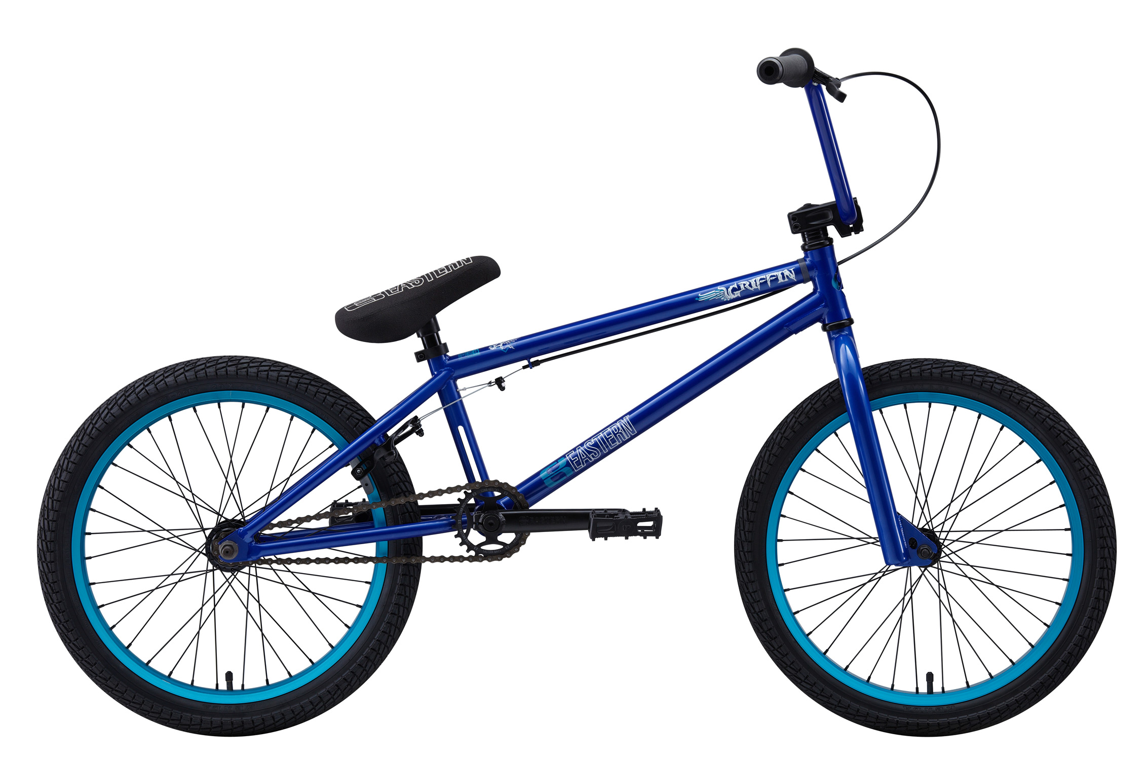 "BMX Key Features of the Eastern Griffin BMX Bike Matte: WEIGHT: 26.1 LBS TOP TUBE SIZE: 21"" COLORS : Matte Black/Green, Gloss Midnight Blue/Hot Blue GEARING: 25/9 Micro-drive FRAME: Griffin frame w/ ""E"" logo cut out in Headtube, classic Eastern Seat tube cutout. Hi-Tensile Strength 1020 Steel Frame. Eastern Promise: lifetime warranty, lifetime upgrade policy FORK: Griffin Hi-Tensile Strength 1020 Steel BARS: 8.25""x 28.5"" , 1"" Upsweep, 12"" Backsweep HEADSET: 1-1/8"" Aheadset BB: Sealed Bearing, Mid Bottom Bracket PEDALS: VP Components Plastic Platform Pedals GRIPS: Velo Mushroom Grip** STEM: Forged Alloy Front Load SPROCKET: Eastern Phorcys 25T steel CRANKS: Tubular chromoly heat-treated 3pc. cranks with 8 spline spindle SEAT: Eastern logo 1pc. seat and alloy post combo, Durable Nylon Cover, and Stitched Logo SEATPOST: Alloy post included with seat SEAT CLAMP: Nitrous Locker Forged Alloy Clamp TIRES: Multi-Surface, 20"" x 2.35"" ** FRONT HUB: Sealed Bearing, 36 hole Alloy Shell, 3/8"" Chromoly axle REAR HUB: Fully Sealed 36 hole cassette hub, Forged Alloy Shell, 1pc. 9-tooth chromoly driver, 14mm chromoly axle, 5 sealed bearings. RIMS: REAR-Double Wall Alloy, 36 Hole FRONT- Alloy 36 hole REAR BRAKES: Tektro Forged Alloy U-Brake /Straight Cable / Forged Alloy lever, Designed for U-Brakes FREEWHEEL: Sealed bearing 9-tooth 1pc. driver CHAIN: KMC PEGS: 2 pegs - $339.95"