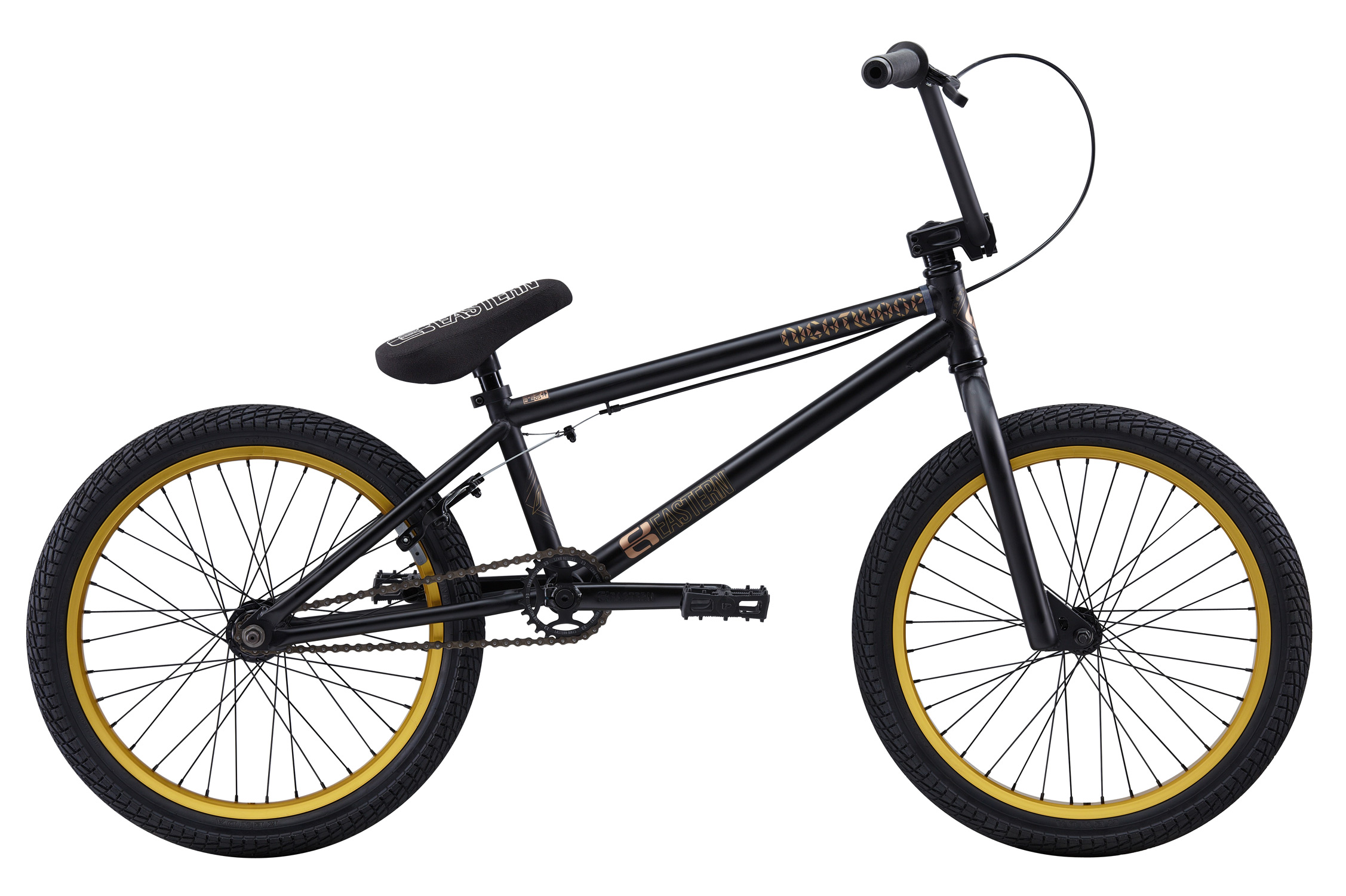 "BMX Key Features of the Eastern Nightwasp BMX Bike 20"": WEIGHT: 26.4 LBS TOP TUBE SIZE: 20.5"" COLORS: Matte Black/Red, Matte Black Gold GEARING: 25/9 Micro-drive FRAME: Nightwasp Hi-Tensile Strength 1020 Steel Frame. Eastern Promise: lifetime warranty, lifetime upgrade policy FORK: Nightwasp Hi-Tensile Strength 1020 Steel BARS: 8.25""x 28.5"" , 1º Upsweep, 12º Backsweep HEADSET: 1-1/8"" Aheadset BB: Sealed Bearing, Mid Bottom Bracket PEDALS: VP Components Plastic Platform Pedals GRIPS: Velo Mushroom Grip** STEM: Forged Alloy Front Load SPROCKET: Eastern Phorcys 25T steel CRANKS: Tubular chromoly heat-treated 3pc. cranks with 8 spline spindle SEAT: Eastern logo 1pc. seat and alloy post combo, Durable Nylon Cover, and Stitched Logo SEATPOST: Alloy post included with seat SEAT CLAMP: Nitrous Locker Forged Alloy Clamp TIRES: Multi-Surface ,20"" x 2.35"" ** FRONT HUB: Sealed Bearing, 36 hole Alloy Shell, 3/8"" Chromoly axle REAR HUB: Fully Sealed 36 hole cassette hub, Forged Alloy Shell, 1pc. 9-tooth chromoly driver, 14mm chromoly axle, 5 sealed bearings. RIMS: REAR-Double Wall Alloy, 36 Hole FRONT- Alloy 36 hole REAR BRAKES: Tektro Forged Alloy U-Brake /Straight Cable / Forged Alloy lever, Designed for U-Brakes FREEWHEEL: Sealed bearing 9-tooth 1pc. driver CHAIN: KMC PEGS: 2 pegs - $359.99"