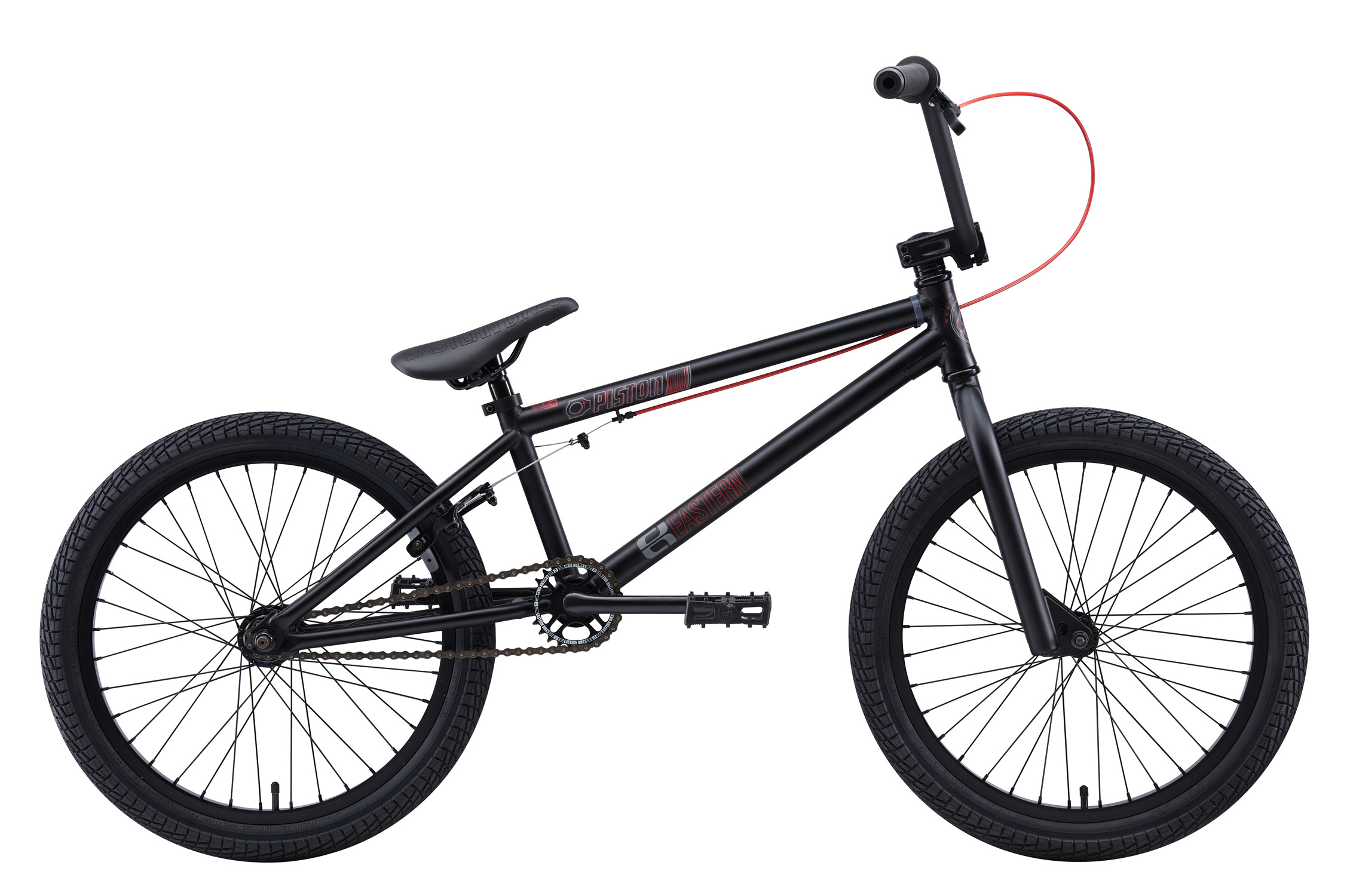 "BMX Key Features of the Eastern Piston BMX Bike Matte Black w/ Black Rims 20"": WEIGHT: 26.7 LBS TOP TUBE SIZE: 19.75"" COLORS: Matte Black/ Matte Hot Blue GEARING: 25/9 Micro-drive FRAME: Piston Hi-Tensile Strength 1020 Steel Frame. Eastern Promise: lifetime warranty, lifetime upgrade policy FORK: Piston Hi-Tensile Strength 1020 Steel BARS: 7.75""x 27.5"", 1"" Upsweep, 12"" Backsweep HEADSET: 1-1/8"" Aheadset BB: American Loose Ball Bearing PEDALS: VP Components Plastic Platform Pedals GRIPS: Velo Mushroom Grip* STEM: Forged Alloy Front Load SPROCKET: 25T Steel CRANKS: Forged & Heat-Treated 1pc. Cro-Mo Cranks. Light & Strong. SEAT: Adjustable Saddle with Embossed Logo SEATPOST: Steel SEAT CLAMP: Nitrous Locker Forged Alloy Clamp TIRES: Multi-Surface , 20"" x 2.35"" ** FRONT HUB: 36 hole 3/8"" chromoly axle, Loose Ball Bearing REAR HUB: Fully Sealed 36 hole cassette hub, Forged Alloy Shell, 1pc. 9-tooth chromoly driver, 14mm chromoly axle, 5 sealed bearings RIMS: Alloy 36 Hole REAR BRAKES: Tektro Forged Alloy U-Brake /Straight Cable / Forged Alloy lever, Designed for U-Brakes FREEWHEEL: Sealed bearing 9-tooth 1pc. driver CHAIN: KMC - $249.95"