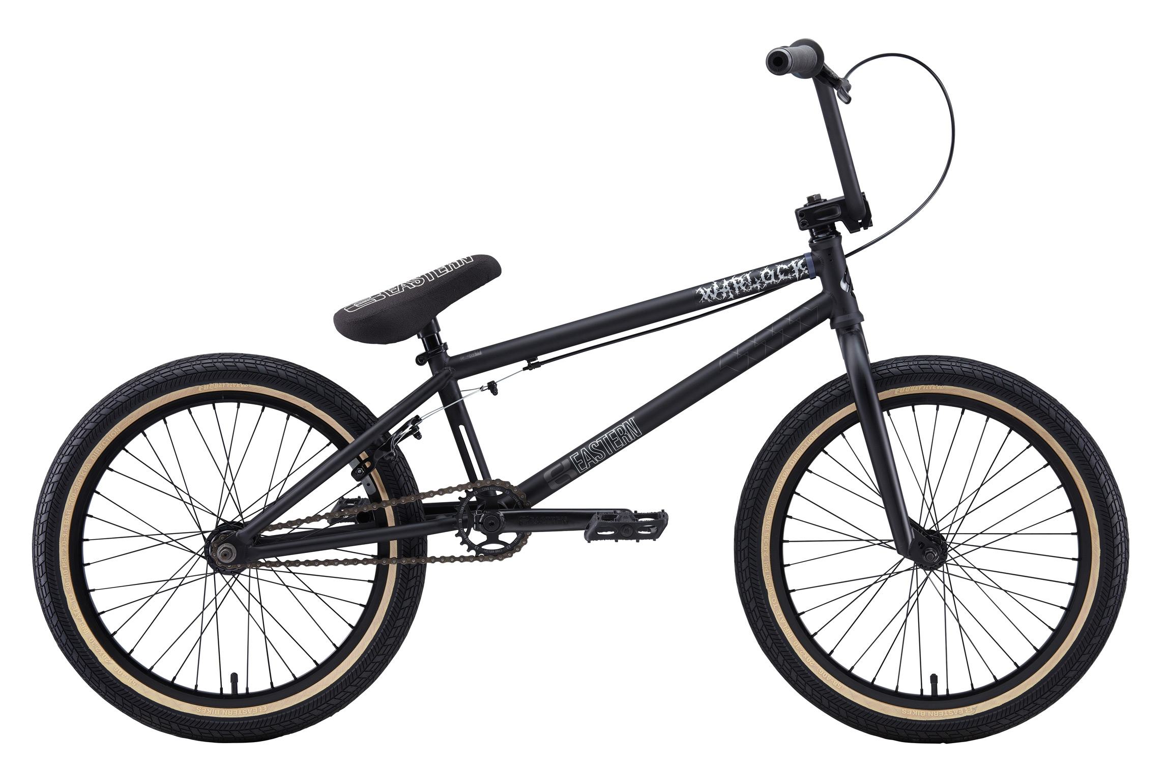 "BMX Key Features of the Eastern Warlock BMX Bike: WEIGHT: 25.3 LBS TOP TUBE SIZE: 21"" COLORS : Matte Black, Matte Burgandy/Hot Blue GEARING: 25/9 Micro-drive FRAME: Warlock frame w/ ""E"" logo cut out in Headtube, classic Eastern Seat tube cutout, 4130 chromoly downtube & integrated headset. Chromoly BB, dropouts and headtube, Holes for replaceable gyro tabs.***** 78mm wide BB to allow for wider tire clearance. Eastern Promise: lifetime warranty*, lifetime upgrade policy** FORK: Eastern FULL 4130 Chromoly w/ Tapered Legs & Hangfree Dropout Design BARS: 8.5""x 28.5"" , 1"" Upsweep, 12"" Backsweep HEADSET: Sealed Bearing 45/45 Integrated BB: Sealed Bearing, Mid Bottom Bracket PEDALS: Eastern Crown pedals GRIPS: Eastern Truffle Grip STEM: Eastern Forged Alloy Frontload SPROCKET: Eastern Phorcys 25T steel CRANKS: Tubular chromoly heat-treated 3pc. cranks with 8 spline spindle SEAT: Eastern logo 1pc. seat and alloy post combo, Durable Nylon Cover, and Stitched Logo SEATPOST: Alloy post included with seat TIRES: Eastern Fuquay Flyer 20""x 2.3"" OEM FRONT HUB: Sealed Bearing, 36 hole Alloy Shell, 3/8"" Chromoly axle REAR HUB: Fully Sealed 36 hole cassette hub, Forged Alloy Shell, 1pc. 9-tooth chromoly driver, 14mm chromoly axle, 5 sealed bearings. RIMS: Double Wall Alloy, 36 Hole REAR BRAKES: Tektro Forged Alloy U-Brake / Straight Cable / Eastern 6061 Forged Lever w/ Hinged Clamp FREEWHEEL: Sealed bearing 9-tooth 1pc. driver CHAIN: KMC SEAT CLAMP: Eastern Slant Forged PEGS: 2 pegs - $293.95"