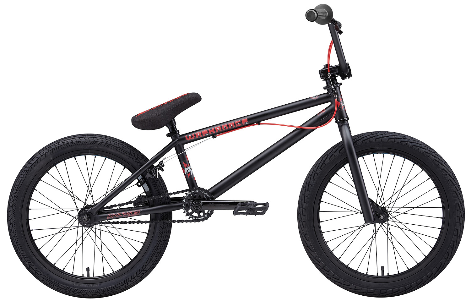 "BMX Key Features of the Eastern Warhammer BMX Bike 20"": WEIGHT // 26.5 lbs. COLORS // Black/Red, White/Black TOP TUBE SIZE // 20.25"" GEARING // 25/9 Micro-drive FRAME // Warhammer Hi-Tensile Strength 1020 Steel Frame w/ lifetime upgrade policy** FORK // Warhammer Hi-Tensile Strength 1020 Steel BARS // 8.0""x 28.5"" , 1 Degree Upsweep, 12 Degree Backsweep HEADSET // 1-1/8"" Aheadset BB // American Loose Ball Bearing PEDALS // Eastern Crown pedals GRIPS // Eastern Fuquay Flyer Grip STEM // Forged Alloy Front Load SPROCKET // 25T Steel w/ Nitrous Graphic CRANKS // Nitrous Shifter 175mm tubular chromoly heat-treated 3pc. cranks w/ 8 spline spindle SEAT // Nitrous Logo 1-Piece Seat/Alloy Post Combo TIRES // LHR Multi-Surface , 20"" x 2.20"" FRONT HUB // 36H 3/8"" Loose Ball Bearing REAR HUB // KT/Quando semi-sealed 36H cassette hub. 1-piece 9-tooth chromoly driver, hollow 14mm chromoly axle RIMS // Alloy 36 Hole REAR BRAKES // Forged Alloy U-Brake / 1 into 2 Upper Cable, Dual Lower Cables /Forged Alloy lever, Designed for U-Brakes FREEWHEEL // 9T 1-Piece Chromoly Driver CHAIN // KMC Z510 SEAT CLAMP // Nitrous Locker Forged Alloy Clamp - $299.95"