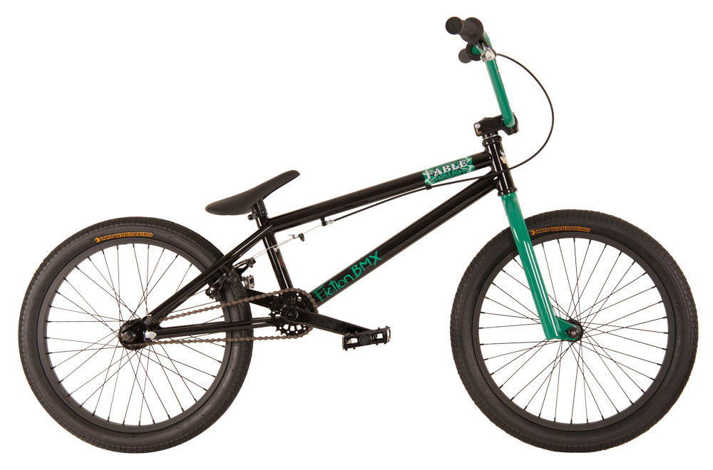 "BMX Key Features of the Fiction Fable BMX Bike 20"": 8"" Fiction Monkey bars 25/9t gearing American BB Hi-tensile steel frame Hi-tensile steel fork micro dropout Alloy front clamp 3 pc Chromoly 175mm 36h 6061 alloy rims Fiction Thorn Combo PC seat 9/16"" pedals chromoly axle TT (Effective): 52.32 cm Defined Color: Black Color: Black Wheel Size: 20"" Weight: 11,884.0 g Catalog Page: 13 Wght/Dims: 33.2 lbs. 49 x 21.5 x 9 - $199.95"