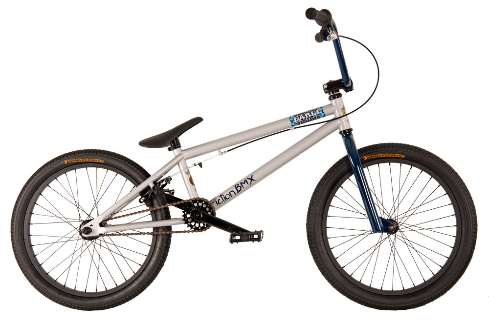 "BMX Key Features of the Fiction Fable BMX Bike 20"": 8"" Fiction Monkey bars 25/9t gearing American BB Hi-tensile steel frame Hi-tensile steel fork micro dropout Alloy front clamp 3 pc Chromoly 175mm 36h 6061 alloy rims Fiction Thorn Combo PC seat 9/16"" pedals chromoly axle TT (Effective): 52.32 cm Defined Color: Silver Color: Silver Wheel Size: 20"" Weight: 11,884.0 g Catalog Page: 13 Wght/Dims: 32 lbs. 48 x 28 x 8 - $199.95"