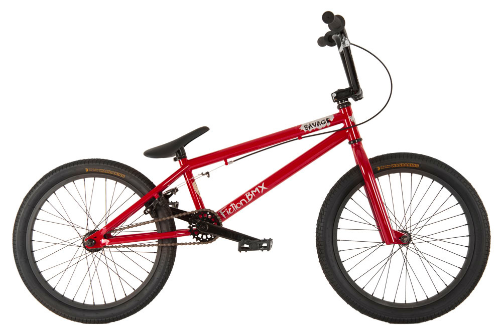 "BMX Key Features of the Fiction Savage BMX Bike 20"": 100% Chromoly main frame Chromoly fork micro dropout 8"" Fiction Monkey bars 25/9t gearing American BB Alloy front clamp 3 pc chromoly 175mm 36h 6061 alloy rims Fiction Thorn Combo PC seat 9/16"" pedals chromoly axle TT (Effective): 52.32 cm Defined Color: Red Color: Red Wheel Size: 20"" Weight: 11,793.0 g Catalog Page: 13 Wght/Dims: 33.2 lbs. 49 x 21.5 x 9 - $249.95"