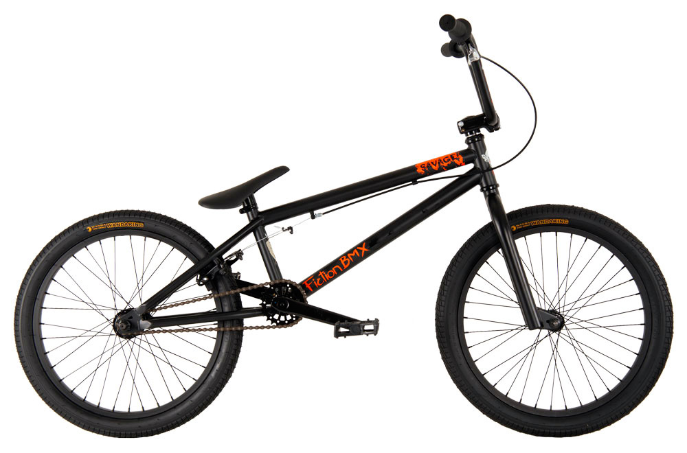 "BMX Key Features of the Fiction Savage BMX Bike 20"": 100% Chromoly main frame Chromoly fork micro dropout 8"" Fiction Monkey bars 25/9t gearing American BB Alloy front clamp 3 pc chromoly 175mm 36h 6061 alloy rims Fiction Thorn Combo PC seat 9/16"" pedals chromoly axle TT (Effective): 52.32 cm Defined Color: Black Color: Black Wheel Size: 20"" Weight: 11,793.0 g Catalog Page: 13 Wght/Dims: 33.2 lbs. 49 x 21.5 x 9 - $249.95"