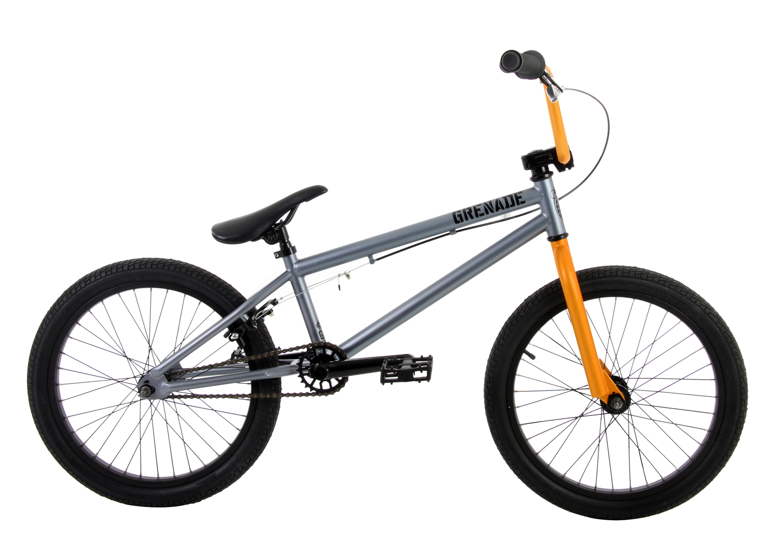 "BMX The 2013 Grenade B2 is the third in Grenade''s lineup of ""entry level"" street/trail BMX bikes, but as you can see, the B2 is not your standard entry level bike with its Cromoly Main Tubes and 25/9 Micro Drive System and its features do not stop there. The B2 features Framed Grips, Framed Fuse Alloy Stem, Framed Pipe Bomb 175mm Tubular Cromoly Cranks with Cromoly Spindle, Framed 25 Tooth Alloy Sprocket, Framed Platform Pedals, Framed Turbine 12mm Alloy Hubset with a 9 Tooth Driver in the rear, and Framed Alloy Rims. An additional feature worth mentioning is the fact that Grenade uses heavy duty 6mm think 14mm dropouts on all of its frames, allowing riders to easily upgrade to wheels with 14mm axles without having to purchase a new frame or fork. The Grenade B2 Bike is as at home on the street as it is on the trails, with its agile but stable geometry and its quality packed components.* Frame: Chromoly main tubes; Hi-Ten Steel * Forks: Hi-Ten Steel * Handlebars: Hi-Ten Steel; 8"" rise * Grips: Grenade Grips * Stem: Fuse Alloy * Headset: Grenade headset * Brake Lever: Grenade Alloy * Brake: Greande Alloy U brake * Cranks: Chromoly; 175mm; Chromoly spindle * Bottom Bracket: Unsealed; American * Sprocket: Alloy; 25T * Chain: KMC Z410 * Pedals: Grenade Platform Pedals * Front Hub: Turbine Alloy ; 3/8""; 36H * Rear Hub: Turbine Alloy; 12mm; 36H; 9T driver * Rims: Alloy * Tires: Grenade -Front: 20"" x 2.125"" -Rear: 20"" x 2.125"" * Seat/Post: 1pc seat and post combo * Clamp: Alloy * Top Tube: 20.5"" * Stand Over: 8"" * Seat Tube: 9.5"" * Head Tube Angle: 74 degrees * Seat Tube Angle: 71 degrees * Chainstay: 14"" * BB Height: 11.6"" * Wheelbase: 36.25"" * Weight: 26 lbs 9 oz * Note: These Grenade BMX bikes come without decals applied. Each bike is shipped with a decal packet, containing a number of decals of different styles and colors. This allows the rider to customize the bike to their liking. - $237.95"