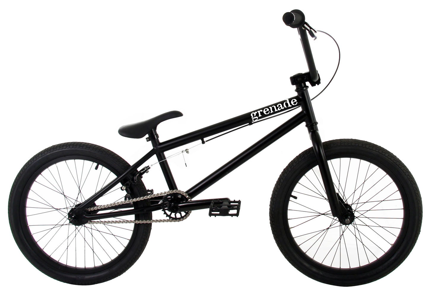 "BMX The 2013 Grenade M1 is the fourth in Grenade's lineup of ""entry level"" street/trail BMX bikes, but as you can see, the M1 is not your standard entry level bike with its Cromoly Main Triangle and 25/9 Micro Drive System and its features do not stop there. The M1 features Framed Grips, Framed Fuse Alloy Stem, Framed Pipe Bomb 175mm Tubular Cromoly Cranks with Cromoly Spindle, Framed 25 Tooth Alloy Sprocket, Framed Platform Pedals, Framed Cannon 14mm Alloy Hubset with a 9 Tooth Driver in the rear, and Framed Flak Jacket Double Wall Alloy Rims. The Grenade M1 Bike is as at home on the street as it is on the trails, with its agile but stable geometry and its quality packed components.These Grenade BMX bikes come without decals applied. Each bike is shipped with a decal packet, containing a number of decals of different styles and colors. This allows the rider to customize the bike to their liking. Key Features of the Grenade M1 BMX Bike 20"": FRAME: CroMo Main Triangle w/20.4"" Top Tube FORKS: HiTen Forks w/CroMo Steer Tube BARS: HiTen 8"" Rise Bars GRIPS: Framed Grips STEM: Framed Fuse Alloy Stem HEADSET: 1 1/8"" Threadless Headset BRAKE LEVER: Framed Alloy Lever BRAKE: Framed Alloy U-Brakes CRANKS: Framed Pipe Bomb 175mm Tubular CroMo Cranks w/CroMo Spindle SPROCKET: Framed 25 Tooth Alloy Sprocket CHAIN: KMC Z410 PEDALS: Framed Platform Pedals FRONT HUB: Framed Cannon 14mm 36 Hole Alloy Hub REAR HUB: Framed Cannon 14mm 36 Hole Alloy Hub w/9 Tooth Driver RIMS: Framed Flak Jacket Double Wall Alloy Rims TIRES: Framed 20"" X 2.125"" Tires SADDLE: Framed Saddle SEAT POST: Framed Seat Post CLAMP: Framed Alloy Clamp PEGS: Framed Steel Pegs (2 PCS) TOP TUBE: 20.4"" HEAD TUBE ANGLE: 74degrees SEAT TUBE: 9.5"" SEAT TUBE ANGLE: 71degrees CHAINSTAY: 14"" BB HEIGHT: 11.6"" APPROX WEIGHT: 26 lbs WHEELBASE: 36.25"" - $239.95"