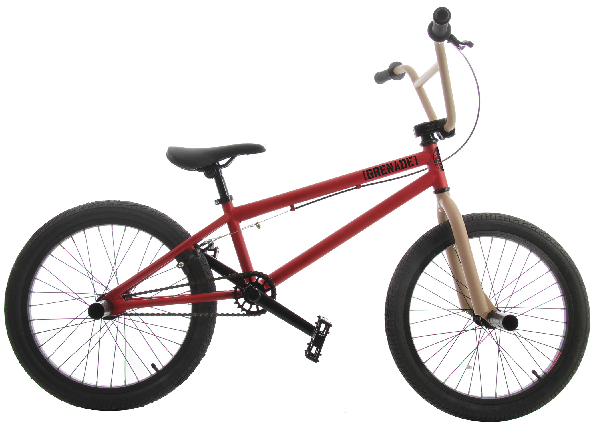 "BMX The 2013 Grenade MX is the fourth in Grenade's lineup of ""entry level"" street/ trail BMX bikes, but as you can see, the MX is not your standard entry level bike with its Cromoly Main Triangle and 25/9 Micro Drive System and its features do not stop there. The MX features Framed Grips, Framed Fuse Alloy Stem, Framed Pipe Bomb 175mm Tubular Cromoly Cranks with Cromoly Spindle, Framed 25 Tooth Alloy Sprocket, Framed Platform Pedals, Framed Cannon 14mm Alloy Hubset with a 9 Tooth Driver in the rear, and Framed Flak Jacket Double Wall Alloy Rims. The Grenade MX Bike is as at home on the street as it is on the trails, with its agile but stable geometry and its quality packed components.FRAME: CroMo Main Triangle with 20.4"" Top Tube FORKS: HiTen Forks with CroMo Steer Tube BARS: HiTen 8"" Rise Bars GRIPS: Framed Grips STEM: Framed Fuse Alloy Stem HEADSET: 1 1/8"" Threadless Headset BRAKE LEVER: Framed Alloy Lever BRAKE: Framed Alloy U-Brakes CRANKS: Framed Pipe Bomb 175mm Tubular CroMo Cranks with CroMo Spindle SPROCKET: Framed 25 Tooth Alloy Sprocket CHAIN: KMC Z410 PEDALS: Framed Platform Pedals FRONT HUB: Framed Cannon 14mm 36 Hole Alloy Hub REAR HUB: Framed Cannon 14mm 36 Hole Alloy Hub with 9 Tooth Driver RIMS: Framed Flak Jacket Double Wall Alloy Rims TIRES: Framed 20"" X 2.125"" Tires SADDLE: Framed Saddle SEAT POST: Framed Seat Post CLAMP: Framed Alloy Clamp PEGS: Framed Steel Pegs (2 PCS  TOP TUBE: 20.4"" HEAD TUBE ANGLE: 74deg SEAT TUBE: 9.5"" SEAT TUBE ANGLE: 71deg CHAINSTAY: 14"" BB HEIGHT: 11.6"" APPROX WEIGHT: 26 lbs WHEELBASE: 36.25"" These Grenade BMX bikes come without decals applied. Each bike is shipped with a decal packet, containing a number of decals of different styles and colors. This allows the rider to customize the bike to their liking. - $229.95"