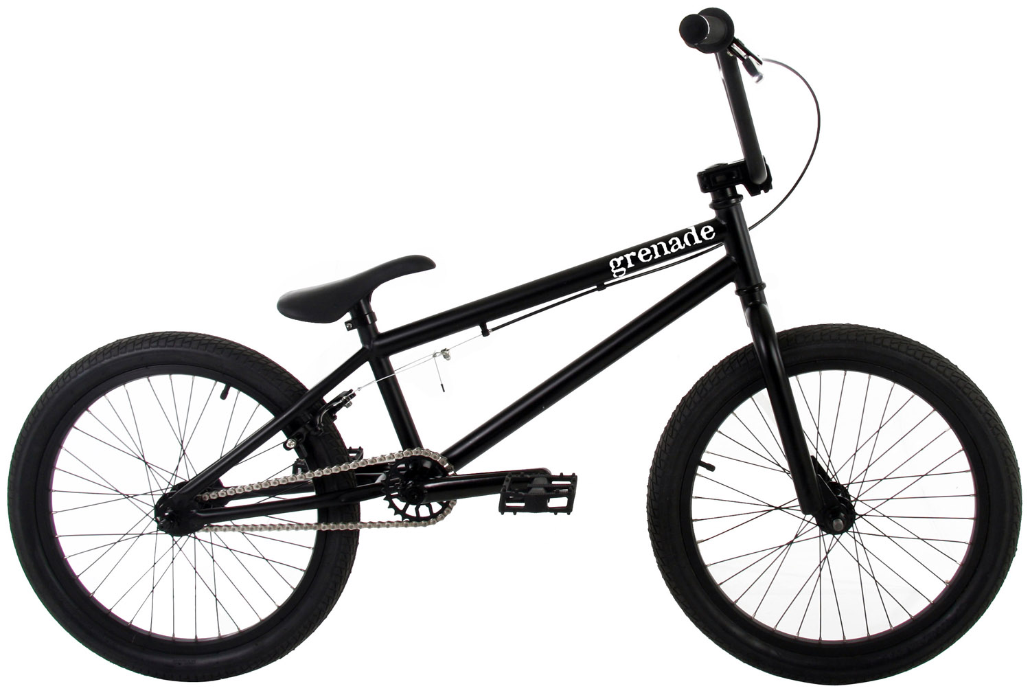 "BMX The 2013 Grenade Stealth is the top-of-the-line in Grenade's lineup of ""entry level"" street/trail BMX bikes, but as you can see, the Stealth is not your standard entry level bike with its 100% Cromoly Frame, Fork, and Handlebar and 25/9 Micro Drive System and its features do not stop there. The Stealth features Framed Gun Grips with Alloy Grip Locks, Framed Detonator Alloy Stem with weight saving cut-outs, Framed Pipe Bomb 175mm Tubular Cromoly Cranks with Cromoly Spindle, Framed Mid Sealed Bottom Bracket, Framed 25 Tooth Alloy Sprocket, KMC HL710 Half Link chain, Framed Platform Pedals, Framed Cannon 14mm Alloy Hubset with a 9 Tooth Driver in the rear, Framed Flak Jacket Double Wall Alloy Rims, and Framed Launcher Saddle/Post Combo Seat for weight reduction. The Grenade Stealth Bike is as at home on the street as it is on the trails, with its agile but stable geometry and its quality packed components.These Grenade BMX bikes come without decals applied. Each bike is shipped with a decal packet, containing a number of decals of different styles and colors. This allows the rider to customize the bike to their liking. Key Features of the Grenade Stealth BMX Bike 20"": FRAME: 100% CroMo w/20.4"" Top Tube FORKS: 100% CroMo Forks BARS: 100% CroMo 8"" Rise Bars GRIPS: Framed Gun Grips w/Grip Locks STEM: Framed Detonator Alloy Stem w/Cutouts HEADSET: 1 1/8"" Threadless Headset BRAKE LEVER: Framed Alloy Lever BRAKE: Framed Alloy U-Brakes CRANKS: Framed Pipe Bomb 175mm Tubular CroMo Cranks w/Sealed Bottom Bracket SPROCKET: Framed 25 Tooth Alloy Sprocket CHAIN: KMC Half Link HL710 PEDALS: Framed Platform Pedals FRONT HUB: Framed Cannon 14mm 36 Hole Alloy Hub REAR HUB: Framed Cannon 14mm 36 Hole Alloy Hub w/9 Tooth Driver RIMS: Framed Flak Jacket Double Wall Alloy Rims TIRES: Framed WD 20"" X 2.125"" Tires SADDLE: Framed Launcher Saddle/Post Combo SEAT POST: Framed Launcher Saddle/Post Combo CLAMP: Framed Alloy Clamp PEGS: Framed Steel Pegs (2 PCS) TOP TUBE: 20.4"" HEAD TUBE ANGLE: 74degrees SEAT TUBE: 9.5"" SEAT TUBE ANGLE: 71degrees CHAINSTAY: 14"" BB HEIGHT: 11.6"" APPROX WEIGHT: 25 lbs WHEELBASE: 36.25"" - $269.95"