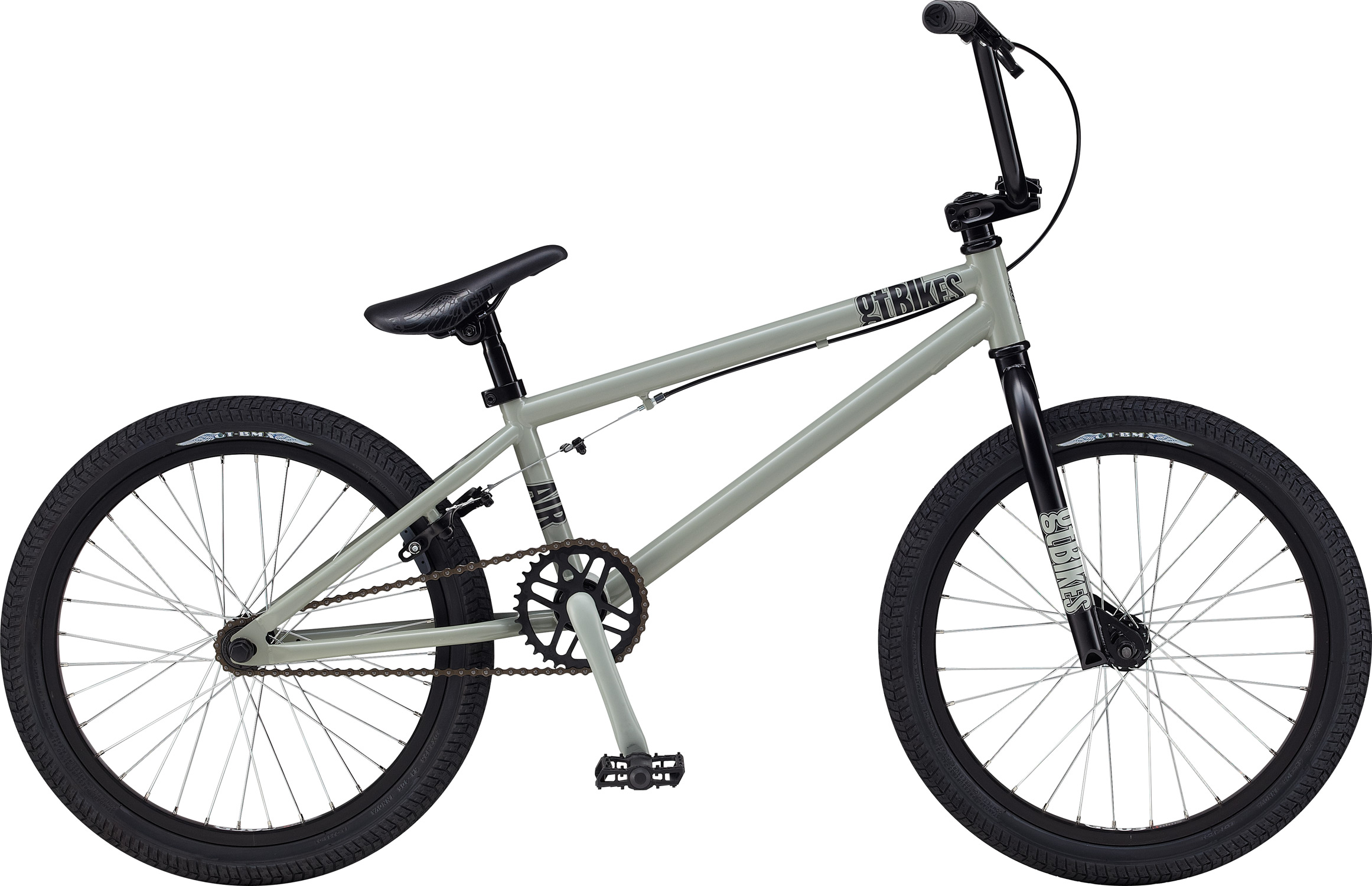 "BMX Key Features of the GT Air BMX Bike 20"": Frame: NEW Straight Gauge, Hi-Ten, Dumped C/S, Triple Triangle™, 14mm Dropouts, S/S Mounted Brake Mounts Front Suspension: GT, Full Hi-Ten, 31.8-28.6 Taper, 3/8, 1 1/8"" Wheels/Hubs: Steel, Freewheel, Loose Ball 3/8""F, 14mmr 32F, 36R Hole Crankset: GT One Piece, 165mm 33T Brakes: C-Star U-Brake - $199.99"