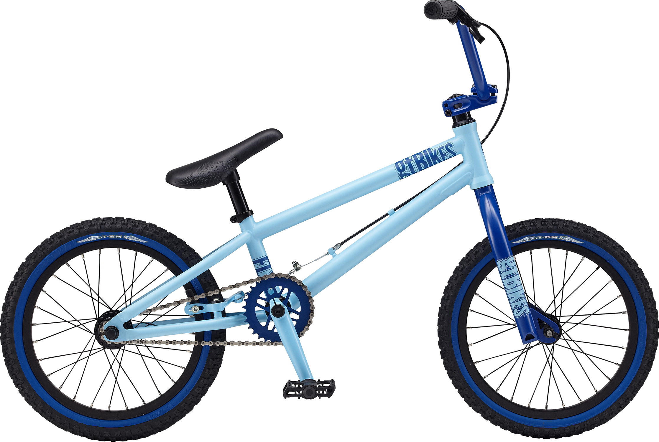 "BMX Key Features of the GT Fly BMX Bike 16"": Frame: NEW Straight Gauge, Hi-Ten, Dumped C/S, TripleTriangle™, 14mm Dropouts,S/S Mounted Brake Mounts Front Suspension: GT, Full Hi-Ten, 31.8-28.6 Taper, 3/8, 1 1/8"" Crankset: GT Cro-Mo 3 Pcs, 8T, 140mm 30T Wheels/Hubs: GT Al Cassette Loose Ball 3/8""F, 3/8""R 28F, 28R Hole Brakes: Tektro FX340R - $249.99"