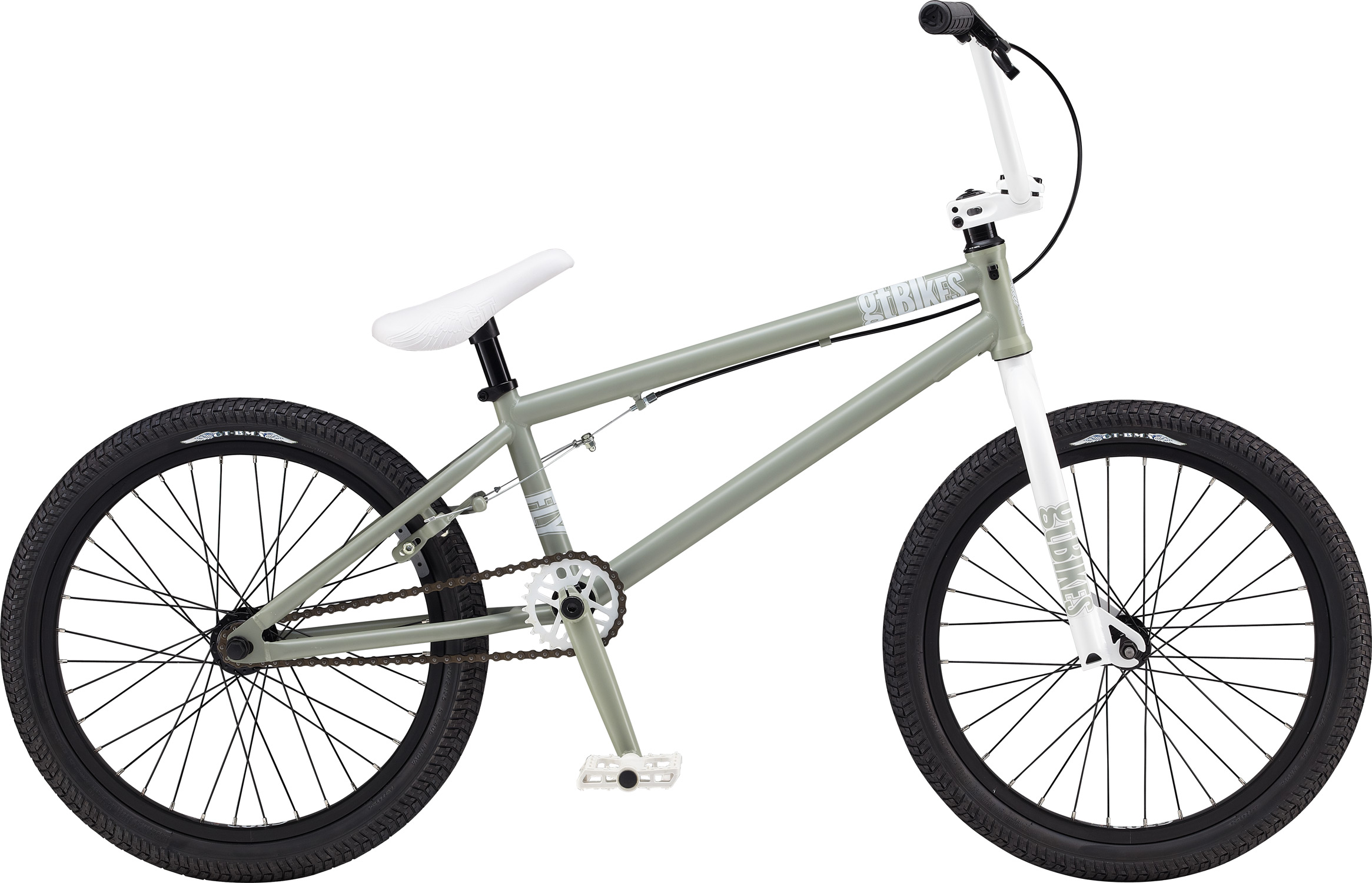 "BMX Key Features of the GT Fly BMX Bike 20"": Frame: NEW Straight Gauge, Hi-Ten, Dumped C/S, Triple Triangle, 14mm Dropouts, S/S Mounted Brake Mounts, W/ Removable Rotor Tabs Front Suspension: GT, Cro-Mo Steerer/ Hi-Ten, 31.8-28.6 Taper, 3/8, 1 1/8"" Brakes: Tektro FX340R Crankset: GT 3 Pcs, 8T, 170mm 25T Wheels/Hubs: KT AL Cassette Loose Ball 3/8""F,14mmr 32F, 36R Hole - $229.95"