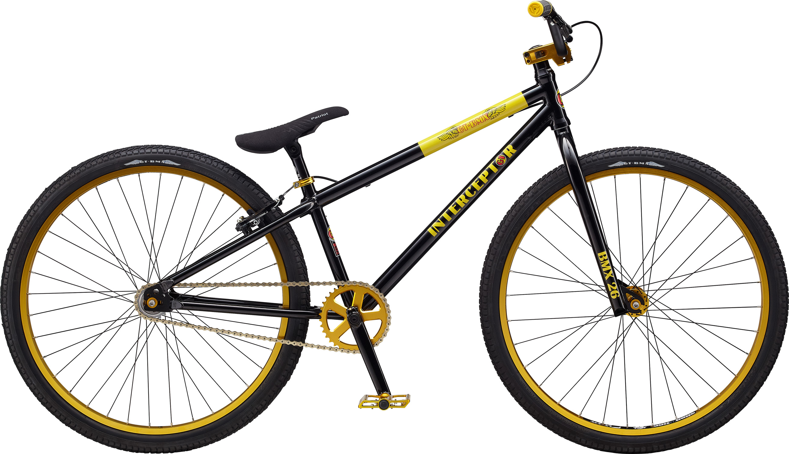 "BMX Key Features of the GT Interceptor BMX Bike 26"": Frame: NEW Butted, 100% Cro-Mo, (DT) Fork: GT, 100% Cro-Mo, Butted Steerer, Butted 31.8-28.6 Butted, Taper Blades, 3/8, 1 1/8"" Crankset: GT 3 Pcs Cro-Mo, 16T, 175mm Al 36T Wheels/Hubs: GT Mohawk AL Sealed 32F, 36R Brakes: Promax MV-295L - $421.95"
