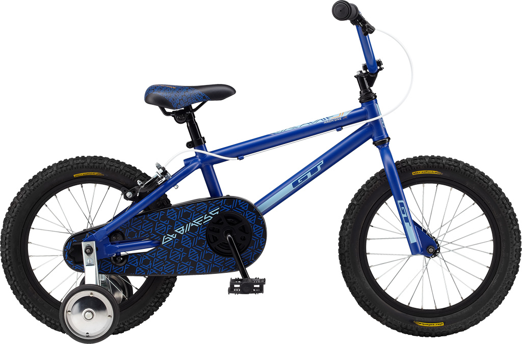 "BMX Key Features of the GT Mach One Jr. CB BMX Bike 16"": Frame: Hi-Ten Steel. Front Suspension: Hi-Ten Threaded, 3/8, 1"" Crankset: Steel, 1 Pcs, 127mm Steel 33T Wheels/Hubs: GT Coaster Brake 28 F, R Hole Brakes: Pro Max, Rear Only Side Pull Alloy - $139.99"