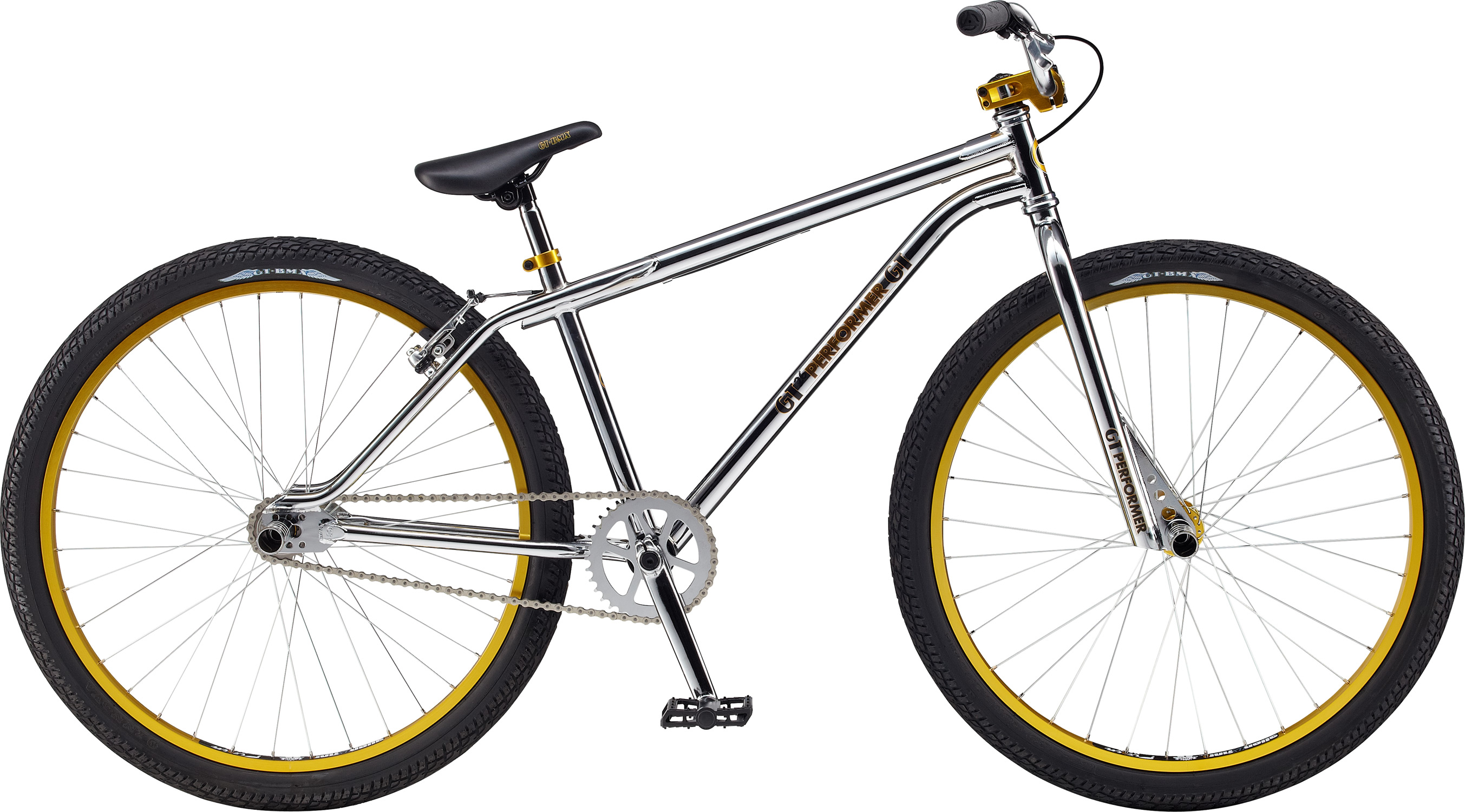 "BMX Key Features of the GT Performer BMX Bike 26"": Colors: Chrome, Blue Frame: 2013 Classic Performer Design w/ Bent D/T And Seat Stand Stays, Full Hi-Ten, American BB , 14mm Dropouts, Seat Stay V-Brake, External 1-1/8"" H/T Fork: GT Classic Performer Design, Cr-Mo 1-1/8"" Steerer, Hi-Ten 31.8 O.D. Blades, 14mm axle Chain: KMC Z410 Crank: GT Tubular Cr-Mo 3Pc., 175mm Arms, Cold Forged Cr-Mo 19mm x 8T Spline Spindle, 34T Steel Chain Wheel GT Design Bottom Bracket: American Loose Ball Bearing Pedals: GT Low Profile Large Size Platform Design, PP Material, Boran Axle Cog Set: 17T Freewheel Rims: Alex Y303 36F/R Hole Tires: GT Freestyle Design 26"" x 2.1"" F/R Hubs: GT Alloy Mohawk 36H Rear Hub: GT Alloy Mohawk, Flip/Flop FW, Aluminum, 36H, 110mm Old, Black Anodize, 22.2mm Washers, 14mm Axle CP Nuts, GT Logos Spokes: 14G Nipples: Brass Brake Levers: Tektro 313A Alloy V-Brake Handlebar: GT Perfromer 100% Cr-Mo; 690mm Width, 100mm Rise, 9 Degree Sweep,32 Degree Tip, Classic Performer Cross Bar Design 22.2MM Cross Bar OD Stem: GT 100% Cold Forged 1-1/8"" Machined GT Logo On Front Cap, 50mm Ext Grips: GT Wings Logo 130mm Single Compound Headset: 1-1/8"" Threadless, Steel Saddle: GT Classic Performer Design Seat Post: Steel, 25.4mm x 200mm Seat Clamp: Alloy, single bolt Extras: Two pair Cold Forged Steel Pegs - $349.95"