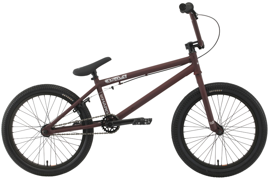"BMX Our 350 series uses the same frame and fork set up as the 300 series, but it steps up the game with an Alienation double-wall Black Sheep rear rim, sealed rear hub, and Odyssey Aitken tires, front and rear. Choose from a super clean and light .1 platform or go with a set of pegs and a gyro on the .2 for almost limitless trick variations.Key Features of the Haro 350.1 20.5In BMX Bike: Chromoly down tube w/internal HT & mid BB 20.5"" & 21"" TT 3 pc chromoly 8 spline cranks (175mm) Haro ""Recycled"" plastic pedals 36 spoke sealed alloy rear hub w/ Alienation double-wall rear rim and single-wall front rim Odyssey Aitken 20""x2.25"" front/20""x1.95"" rear Hi-ten 8"" rise bars (20.5"") or 8.25"" (21"") Alloy front load stem 25/9 gearing - $285.95"