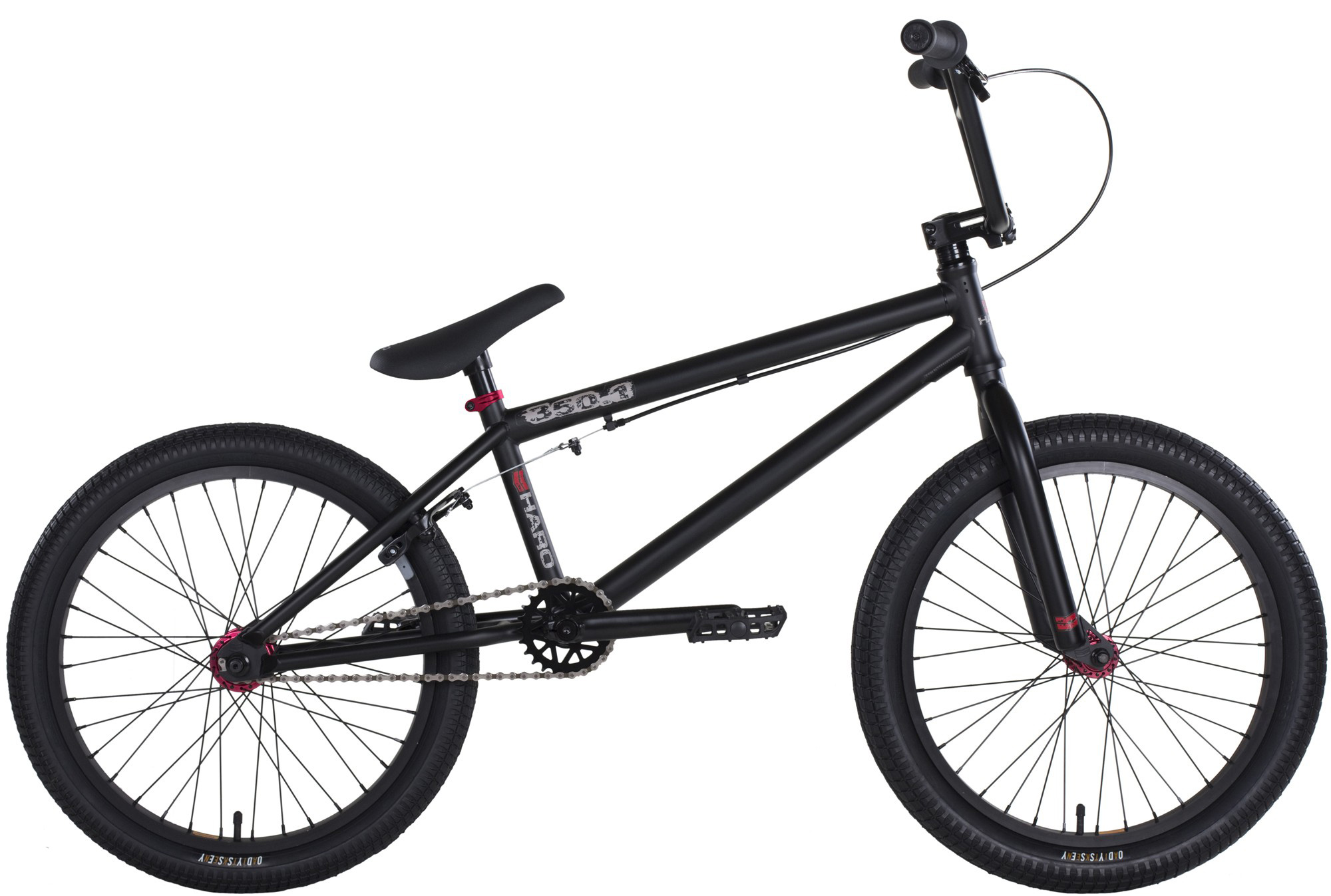 "BMX Our 350 series uses the same frame and fork set up as the 300 series, but it steps up the game with an Alienation double-wall Black Sheep rear rim, sealed rear hub, and Odyssey Aitken tires, front and rear. Choose from a super clean and light .1 platform or go with a set of pegs and a gyro on the .2 for almost limitless trick variations.Key Features of the Haro 350.1 20.5In BMX Bike: Chromoly down tube w/internal HT & mid BB 20.5"" & 21"" TT 3 pc chromoly 8 spline cranks (175mm) Haro ""Recycled"" plastic pedals 36 spoke sealed alloy rear hub w/ Alienation double-wall rear rim and single-wall front rim Odyssey Aitken 20""x2.25"" front/20""x1.95"" rear Hi-ten 8"" rise bars (20.5"") or 8.25"" (21"") Alloy front load stem 25/9 gearing - $339.95"