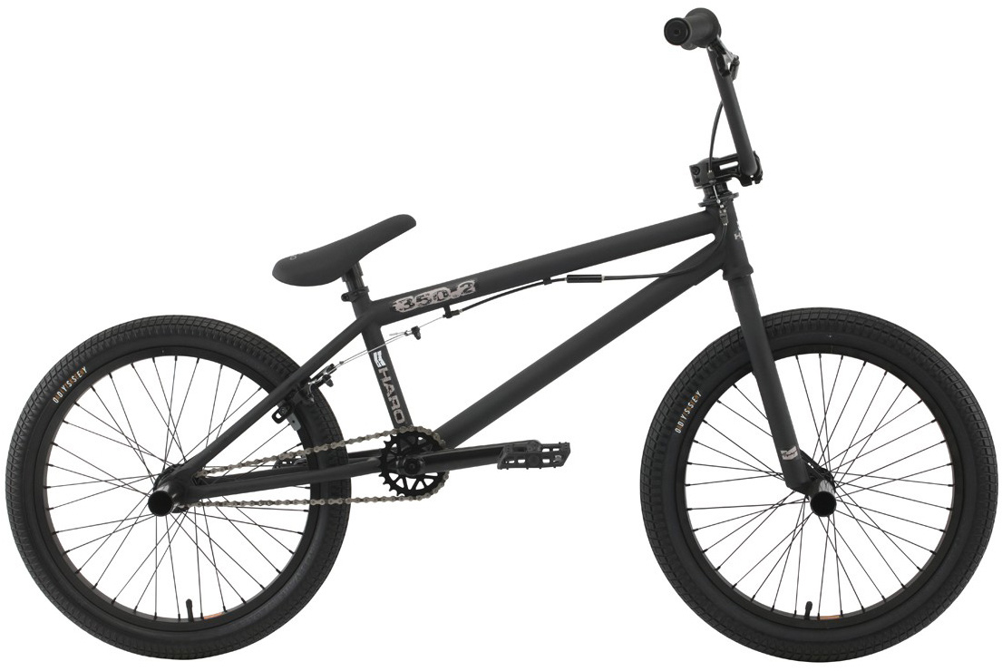 "BMX Our 350 series uses the same frame and fork set up as the 300 series, but it steps up the game with an Alienation double-wall Black Sheep rear rim, sealed rear hub, and Odyssey Aitken tires, front and rear. Choose from a super clean and light .1 platform or go with a set of pegs and a gyro on the .2 for almost limitless trick variations.Key Features of the Haro 350.2 20.5In BMX Bike: Chromoly down tube w/internal HT & mid BB 20.5"" & 21"" TT 3 pc chromoly 8 spline cranks (175mm) Haro ""Recycled"" plastic pedals 36 spoke sealed alloy rear hub w/ Alienation double-wall rear rim and single-wall front rim Odyssey Aitken 20""x2.25"" front/20""x1.95"" rear Hi-ten 8"" rise bars (20.5"") or 8.25"" (21"") Alloy front load stem 25/9 gearing Add 2 pegs and a rotor on the 350.2 model - $339.95"
