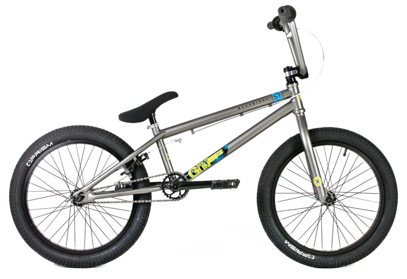"BMX The ST series is defined as our starter range for serious riders. The ST bikes are built around a full 4130 CrMo frame and fork, with integrated headset and sealed MidBB. The bikes also feature an assortment of PRISM parts including female bolt hubs. The ST series has been designed to offer the best specification for the price.Key Features of the KHE Shotgun ST BMX Bike 20"": FRAME: 100% 4130 CrMo - Int Headset - TT 20.6""/ CS 13.5""/ HT 75° FORK: 100% 4130 CrMo BAR 2-pc Extra Wide - 8"" high - HiTen steel STEM: PRISM Frontload GRIPS: PRISM Ansa LEVER: PRISM Pincher Lever BRAKE: PRISM St U-Brake with soft pads CRANK: PRISM 3pc CrMo crank -175mm BB MidBB sealed SPROCKET: KHE Rotor 25T steel chrome PEDALS: PRISM Thin plastic CHAIN: KMC 1/2x1/8"" black chain FRONT WHEEL: ALIENATION PBR rim/ PRISM Female axle front hub 36H REAR WHEEL: ALIENATION Blacksheep double wall rim/ semi sealed Female axle cassette hub 9T 36H TIRES: PRISM FAT 2,3 front and rear SEAT/ POST: KHE Exhib seat/ seatpost combo SEATCLAMP: PRISM seatclamp EXTRAS: one pair of steel pegs chain tensioners WEIGHT: 11.3kg/ 24.9 lbs (without pegs) - $449.95"