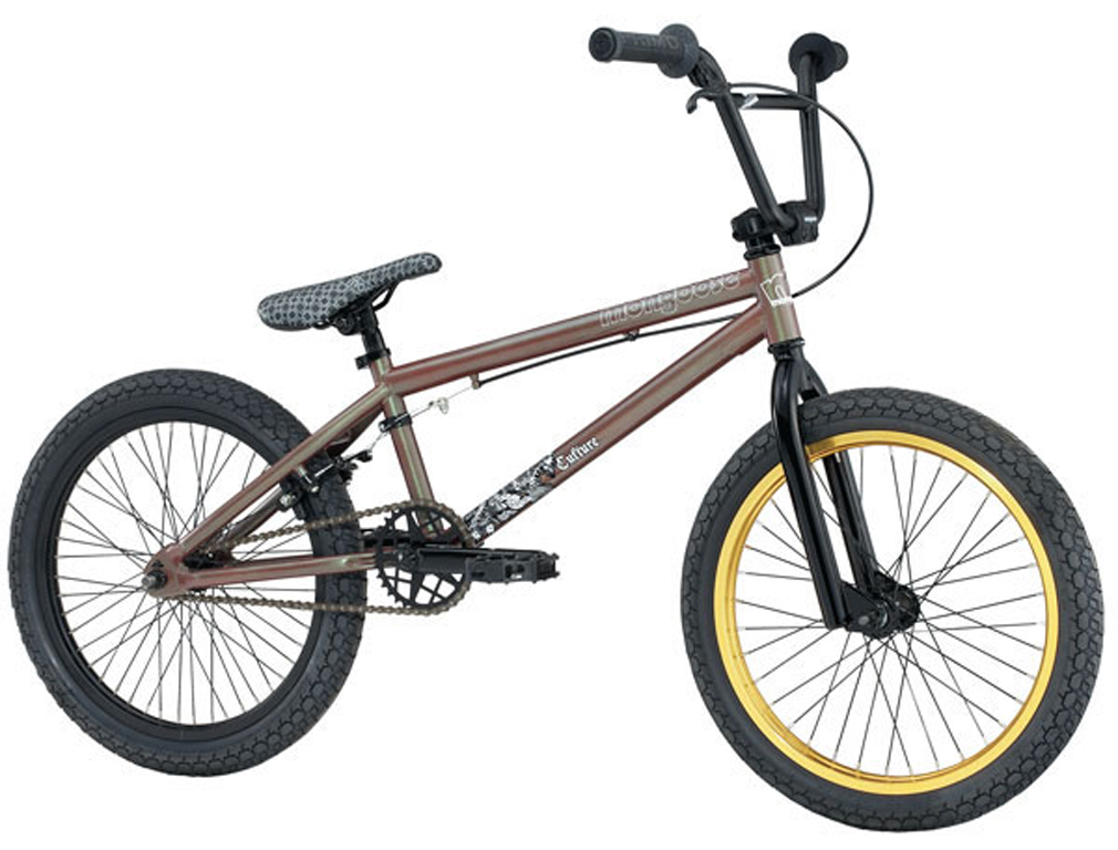 "BMX Shred-ready with quality goods, the Mongoose Culture BMX Bike hooks you up with a serious ride that you won't have to spend all your time saving up to afford. We provide all the benefits of a Cro-Mo main frame, 3-piece cranks, Primo grips and a sweet new minimalist, Mongoose Ultralight stem. All you have to do is provide the skills to put it all to use. Key Features of the Mongoose Culture BMX Bike: Frame: Cromo Front Triangle Fork: Cromo Steerer Crankset / Chainwheel: 3pc Tubular Cromo, 175mm, 33T steel chainring Bottom Bracket: Mid Sealed Bearing 8 spline Pedals: Mongoose Alloy Cog set: Odyssey 12t freewheel Chain: KMC Z-510 Rims: Alloy 36H front, 48H rear Front Hub: 36H Alloy, 3/8"" axle Rear Hub: 48H Alloy, 14mm axle loose ball cassette Spokes: ED Black Steel Tires: Kenda (F&R) 2.25 Front Brake: N/A Rear Brake: Tektro FX340 Alloy U-brake Brake Levers: Rush RX402 hinged Handlebar: Mongoose Hi-ten 8"" Stem: Mongoose ultralight; 50mm Ext. Headset: 1-1/8"" Ahead Grips: PRIMO Classic Saddle: Mongoose Slim Seat Post: 25.4 straight steel Seat Clamp: Alloy single bolt slim - $239.95"
