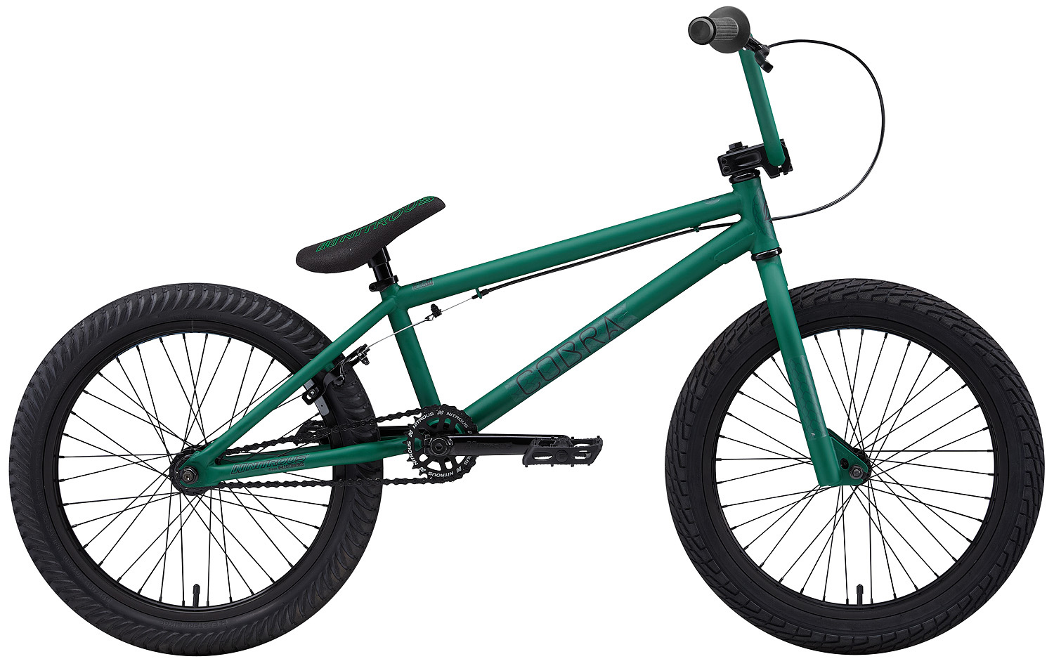 "BMX Key Features of the Nitrous Cobra BMX Bike: WEIGHT // 26.8 lbs. COLORS // Black/Black, Red/Black, Green/Black TOP TUBE SIZE // 20.25"" GEARING // 25/9 Micro-drive FRAME // Cobra Hi-Tensile Strength 1020 Steel Frame w/ lifetime upgrade policy** FORK // Cobra Hi-Tensile Strength 1020 Steel BARS // 8.0""x 28.5"" , 1? Upsweep, 12? Backsweep HEADSET // 1-1/8"" Aheadset BB // American Loose Ball Bearing PEDALS // Eastern Crown pedals GRIPS // Eastern Wiz Signature Grip STEM // Forged Alloy Front Load SPROCKET // 25T Steel w/ Nitrous Graphic CRANKS // Nitrous Shifter 175mm tubular chromoly heat-treated 3pc. cranks w/ 8 spline spindle SEAT // Nitrous Logo 1-Piece Seat/Alloy Post Combo TIRES // LHR Multi-Surface , 20"" x 2.20"" FRONT HUB // 36H 3/8"" Loose Ball Bearing REAR HUB // KT/Quando semi-sealed 36H cassette hub. 1-piece 9-tooth chromoly driver, hollow 14mm chromoly axle RIMS // Alloy 36 Hole REAR BRAKES // Forged Alloy U-Brake / Straight Cable / Forged Alloy lever, Designed for U-Brakes FREEWHEEL // 9T 1-Piece Chromoly Driver CHAIN // KMC Z510 SEAT CLAMP // Nitrous Locker Forged Alloy Clamp - $299.99"